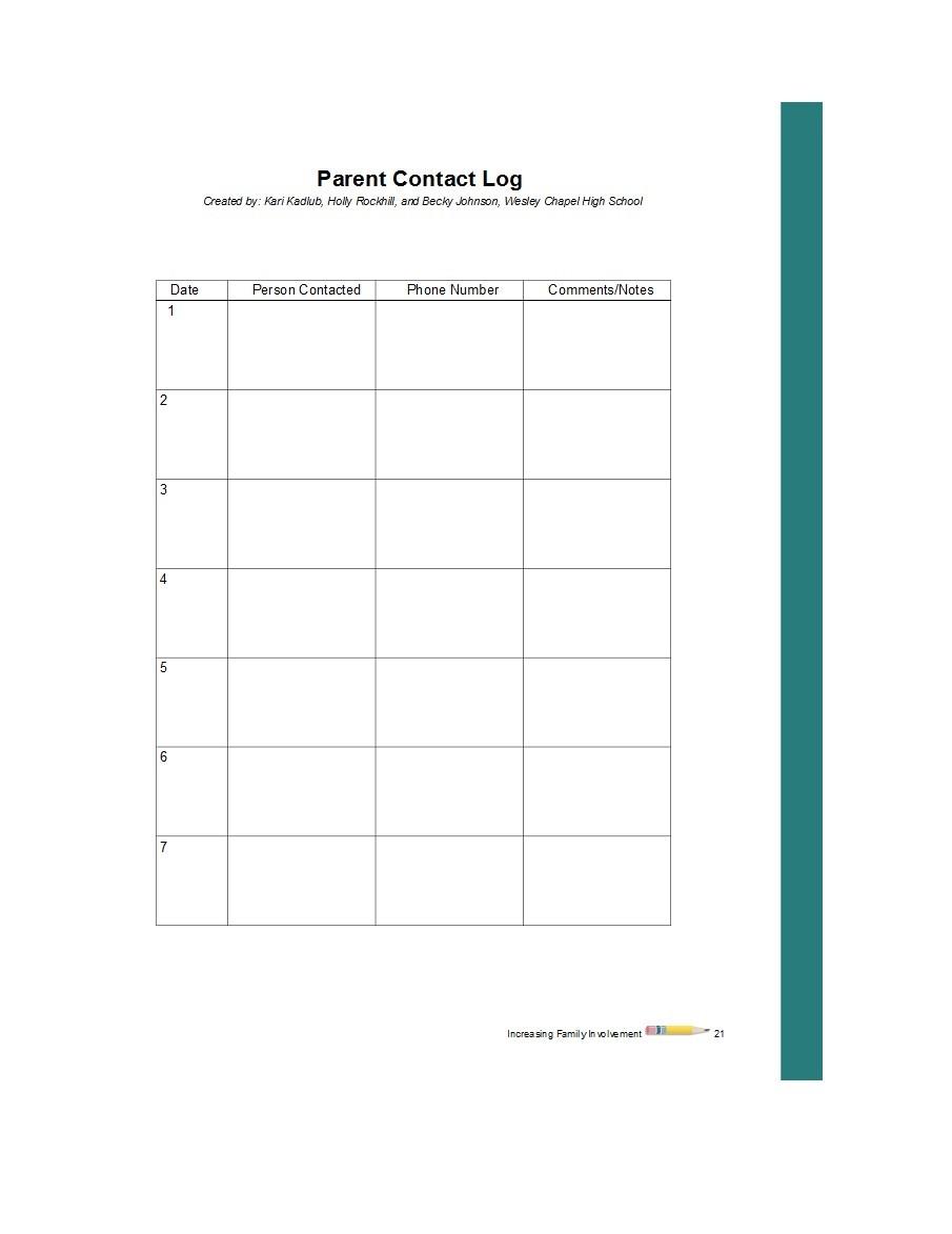 Free parent contact log 19