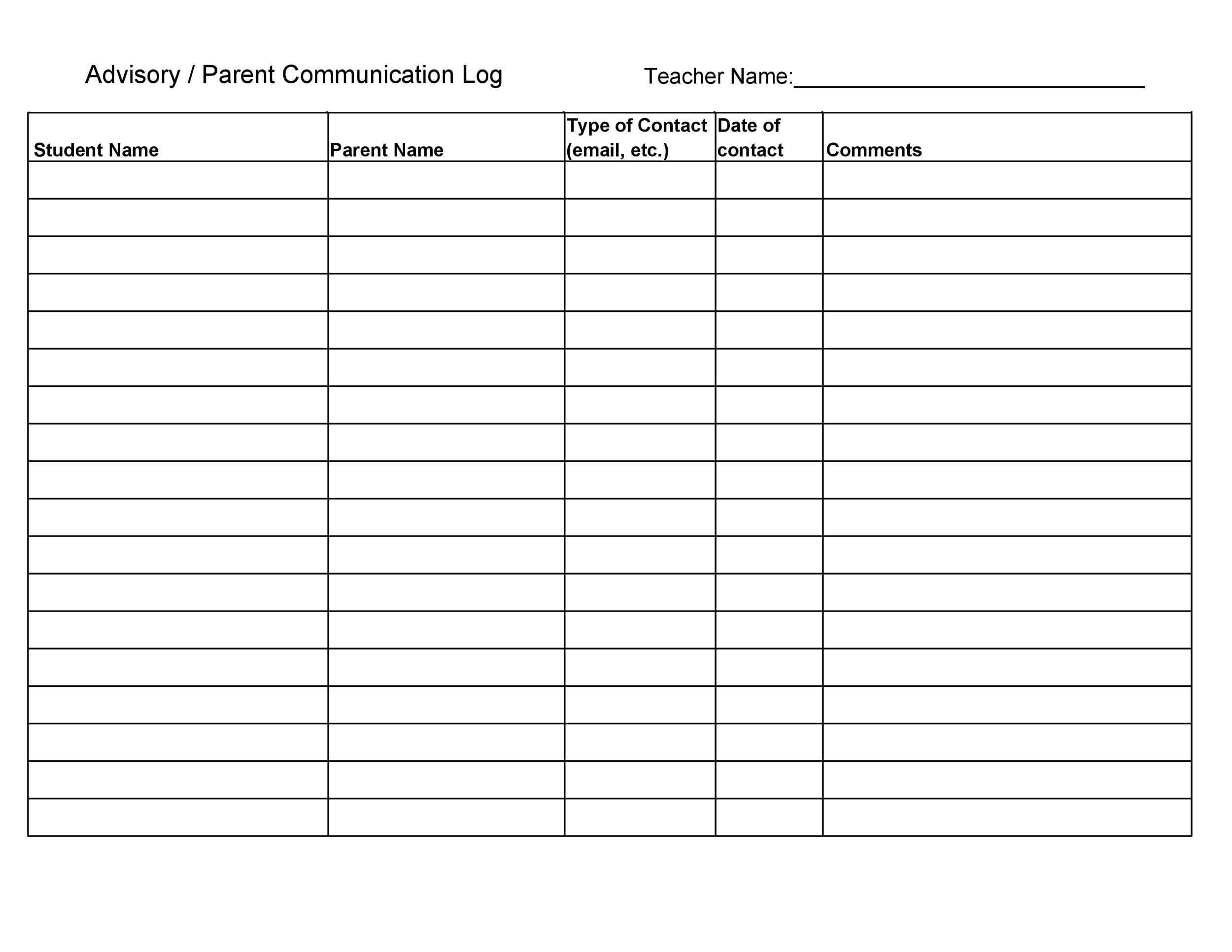 Free parent contact log 26