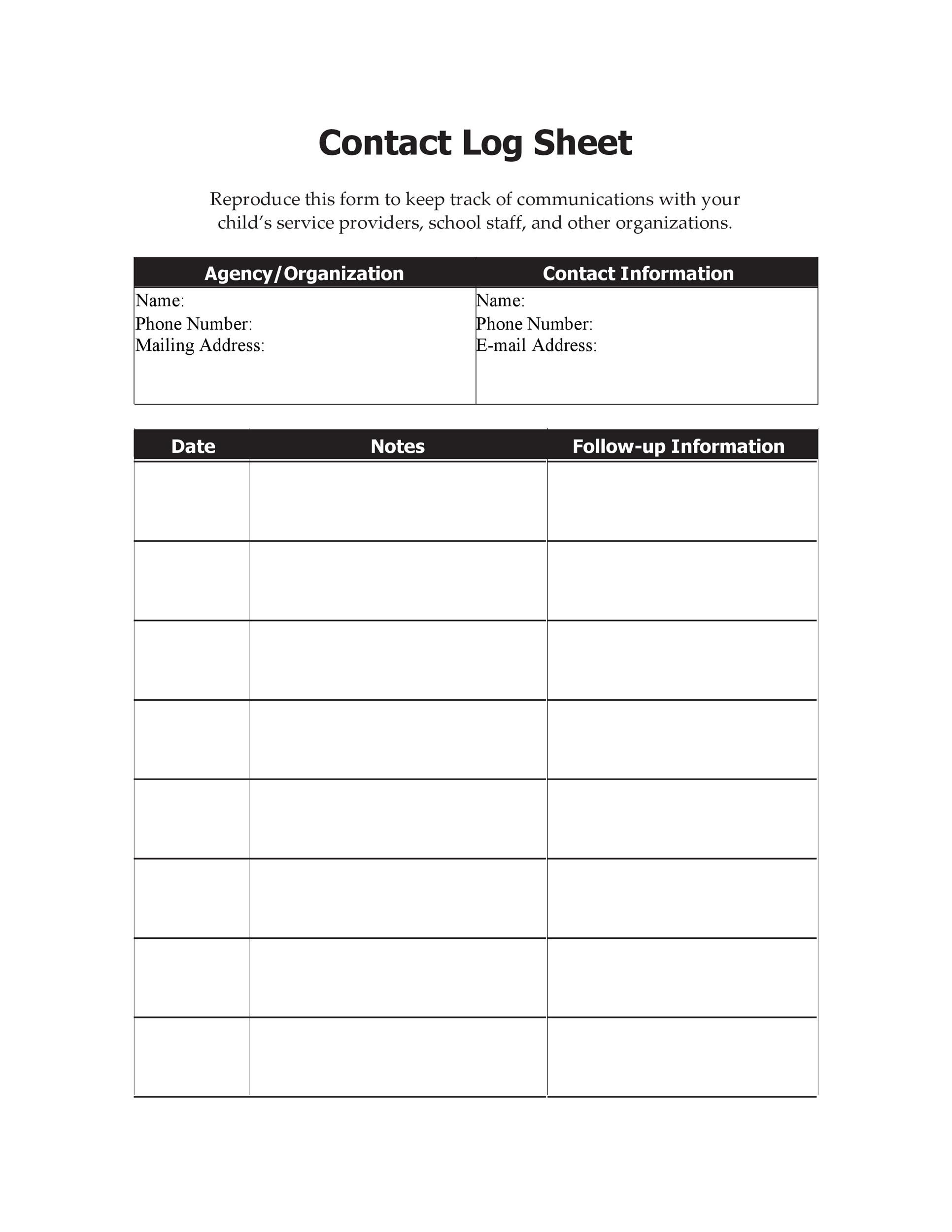 Free parent contact log 27