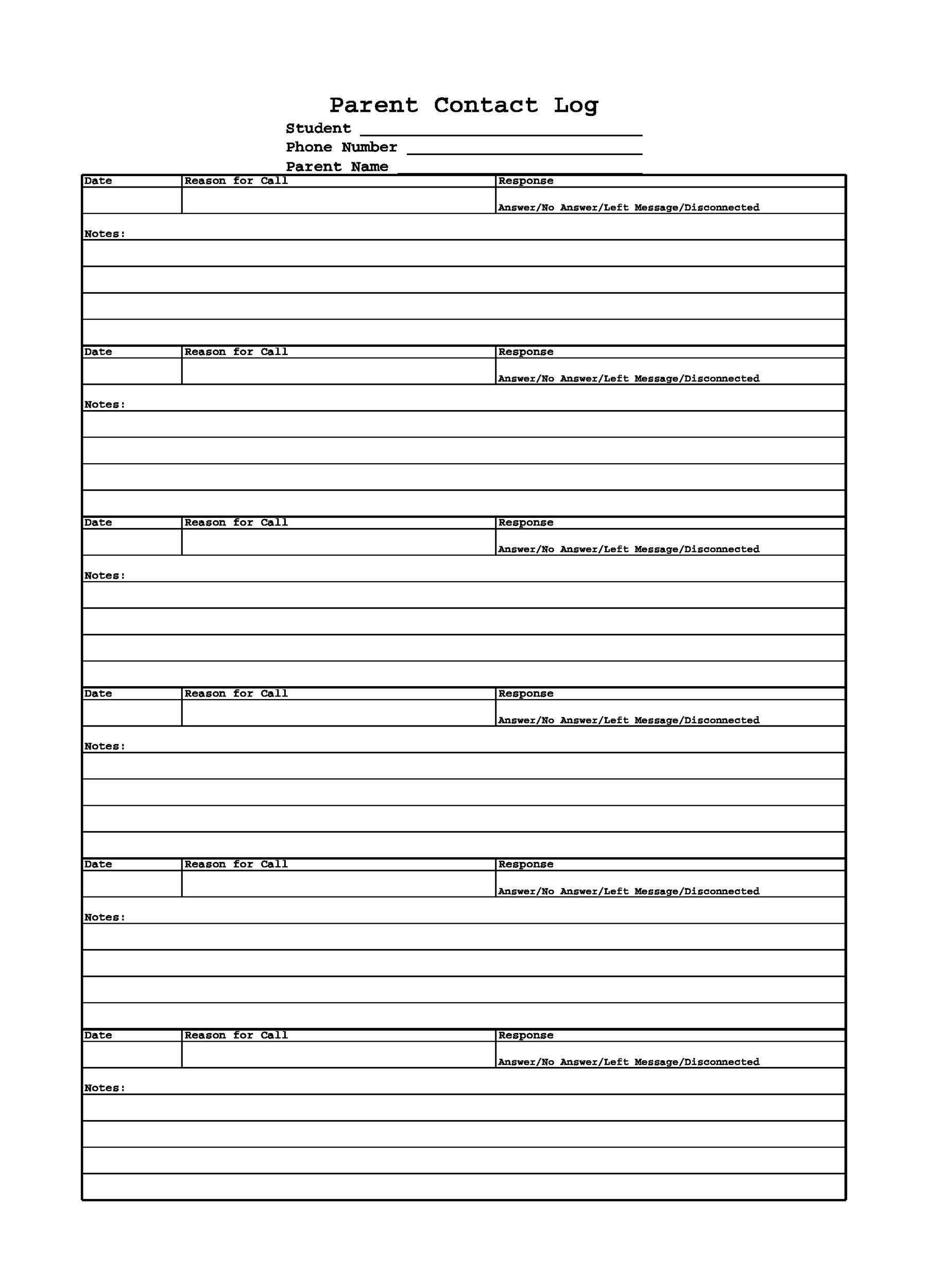 Free parent contact log 41