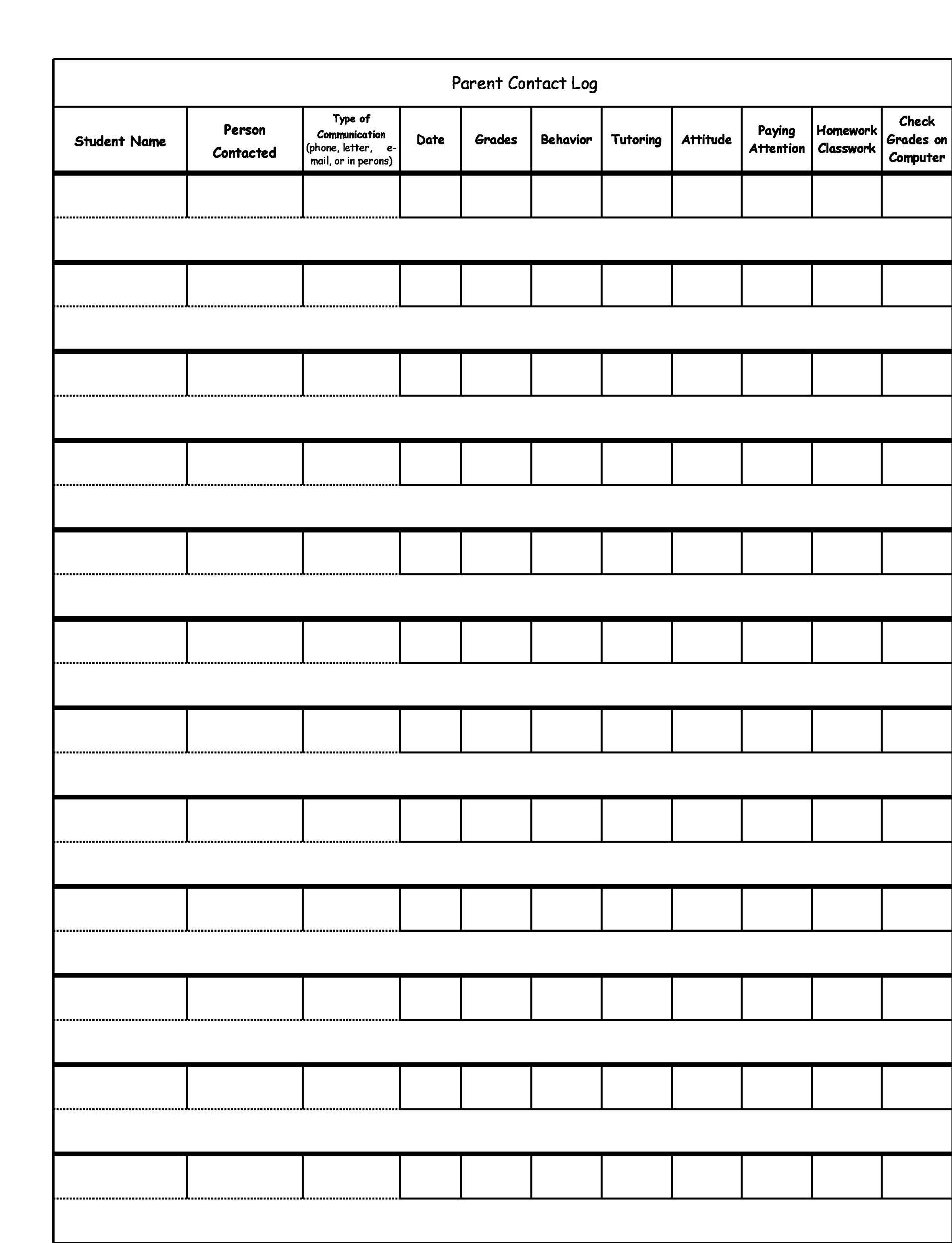 Free parent contact log 44