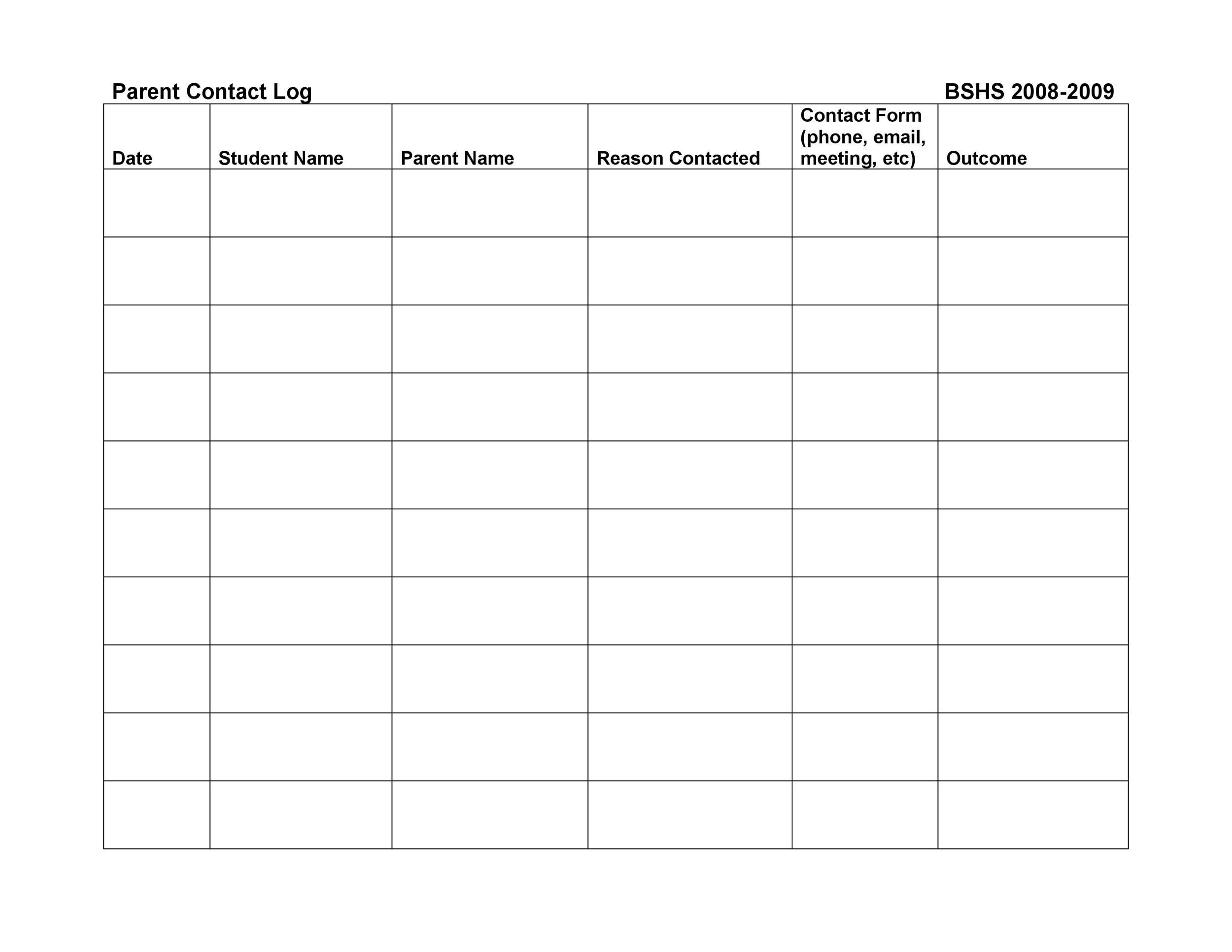 Free parent contact log 49