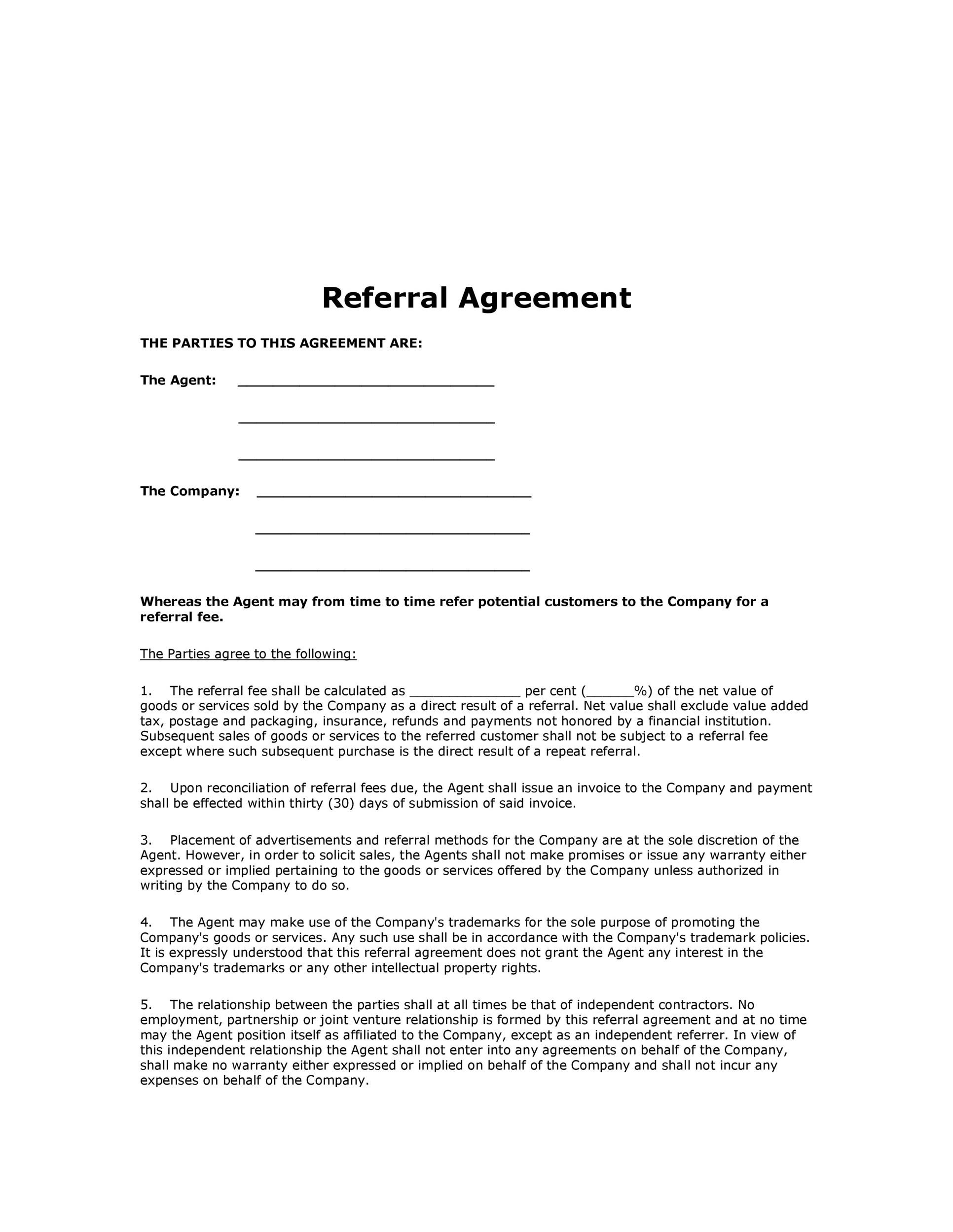 Free referral agreement template 16