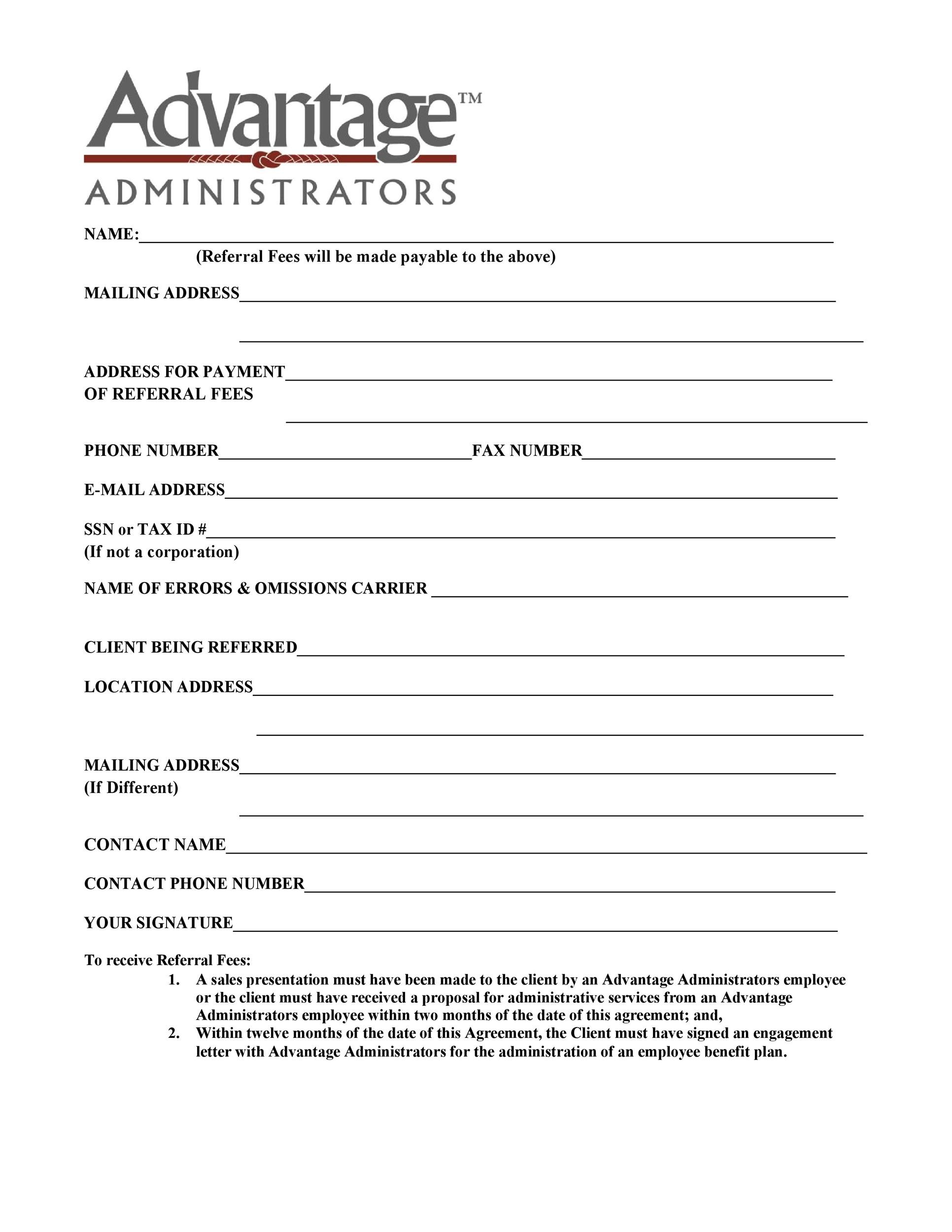 Free referral agreement template 19
