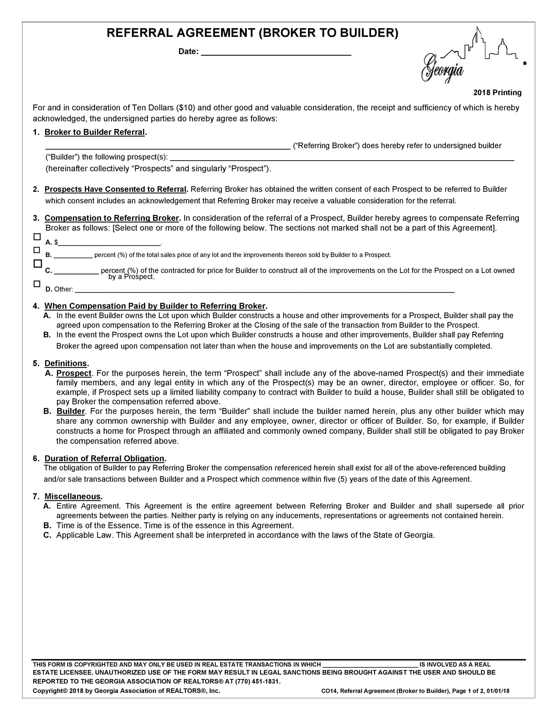 Free referral agreement template 21