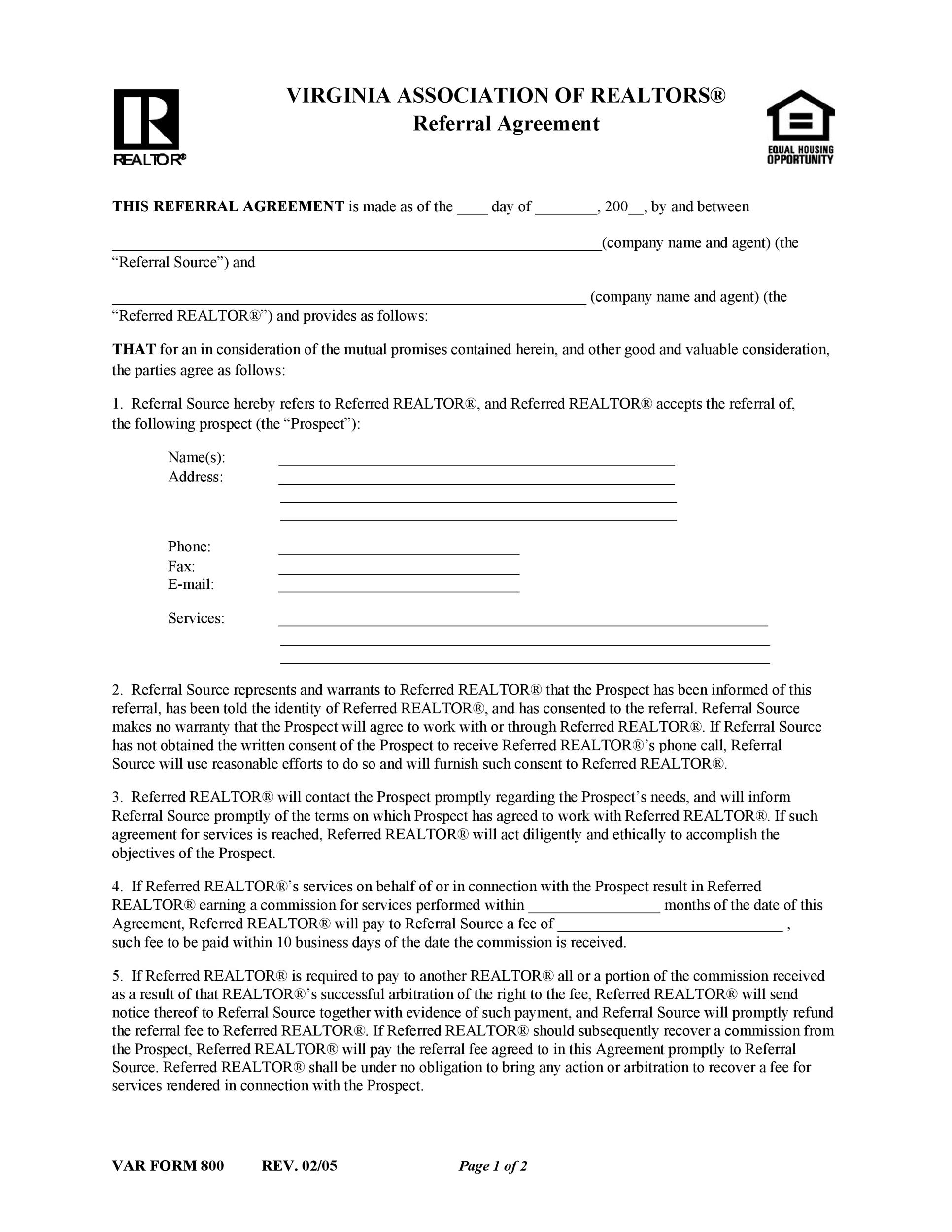 Free referral agreement template 22