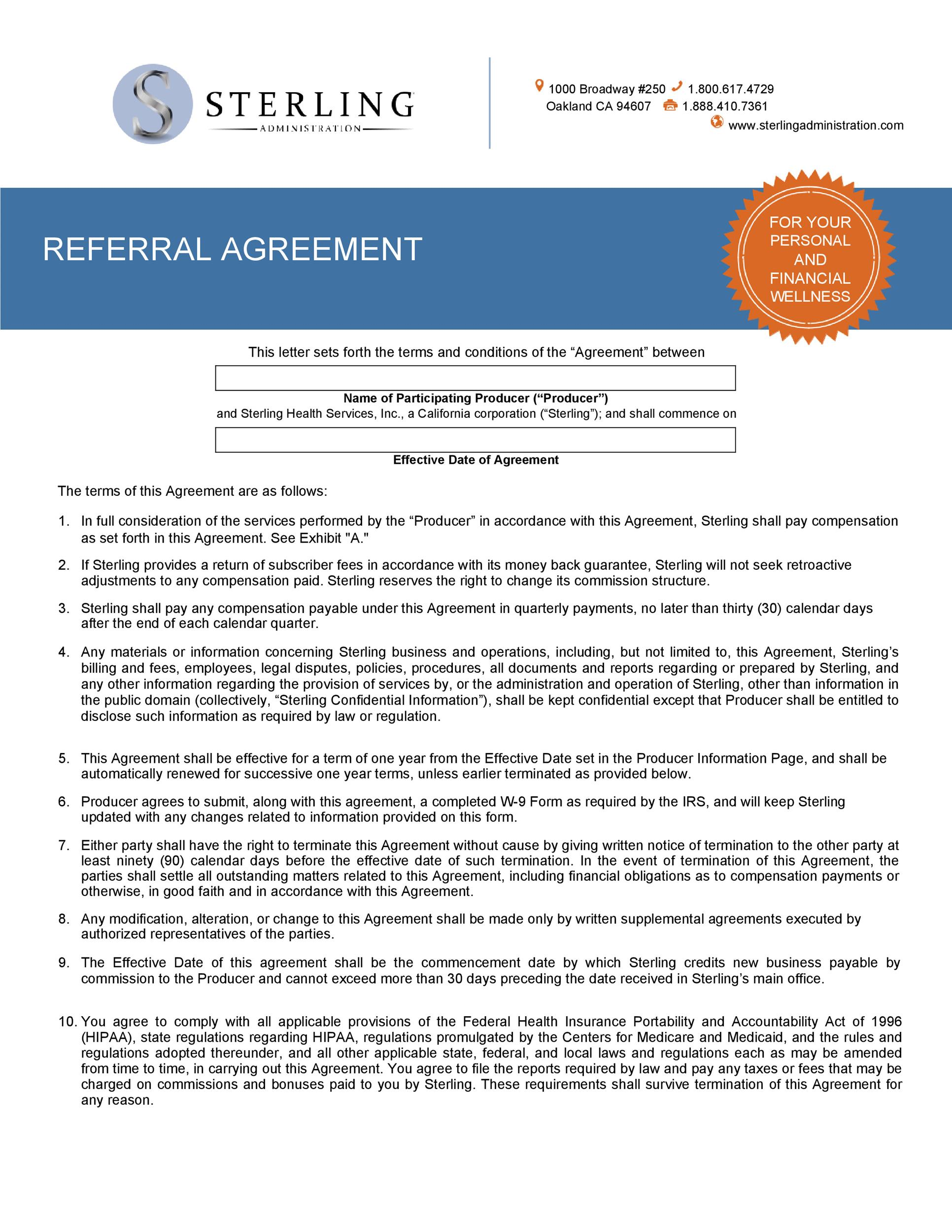 Free referral agreement template 25