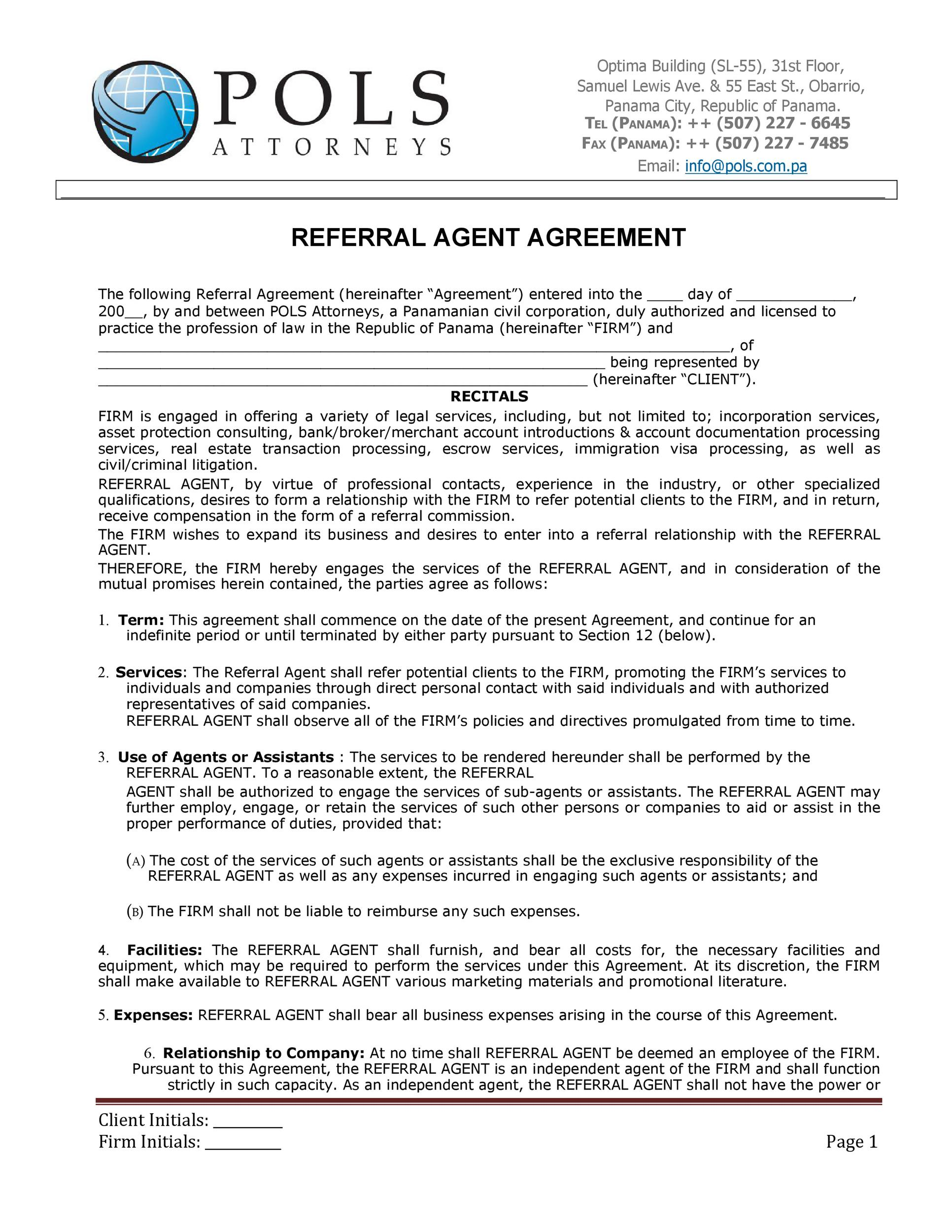 Free referral agreement template 29