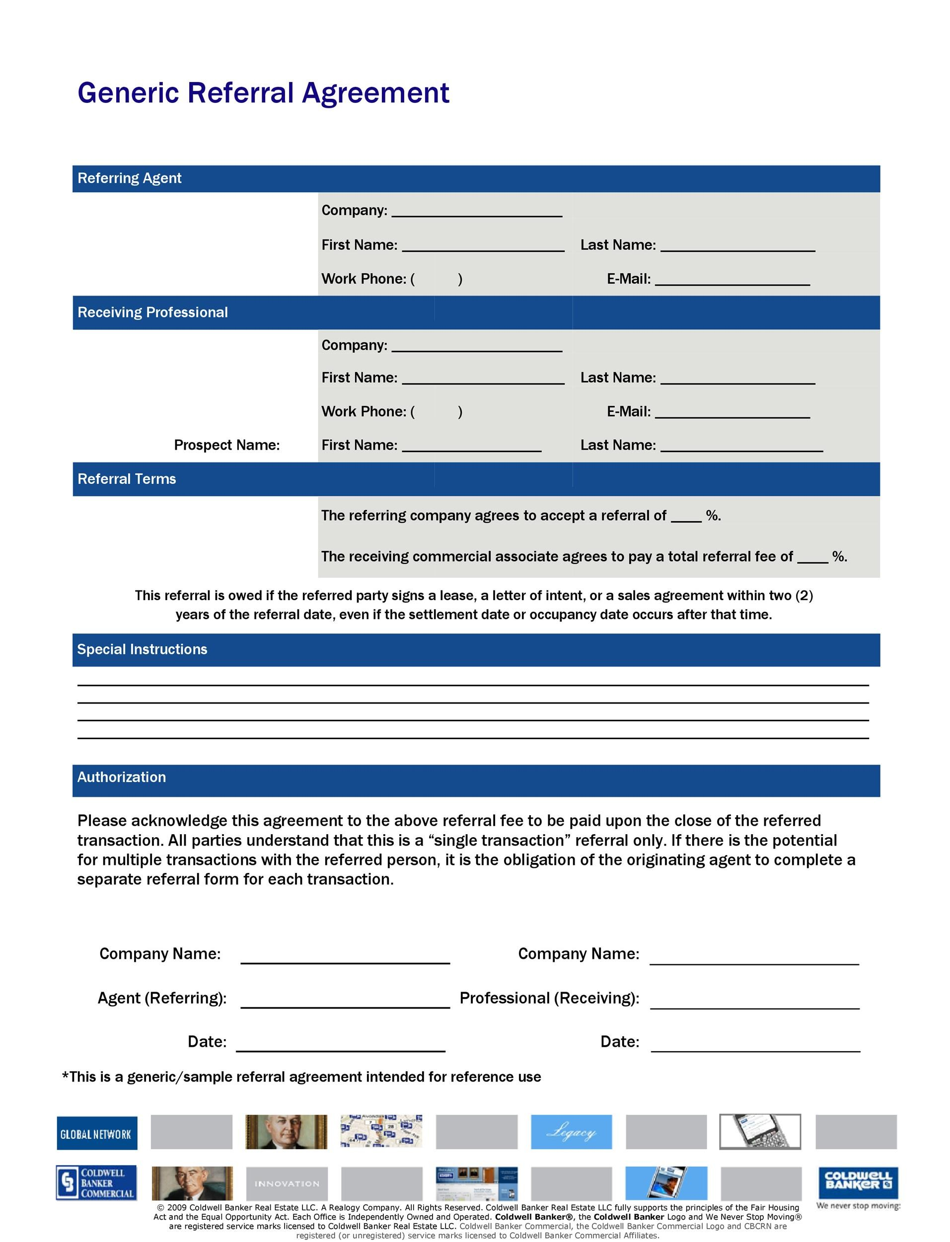 Free referral agreement template 32