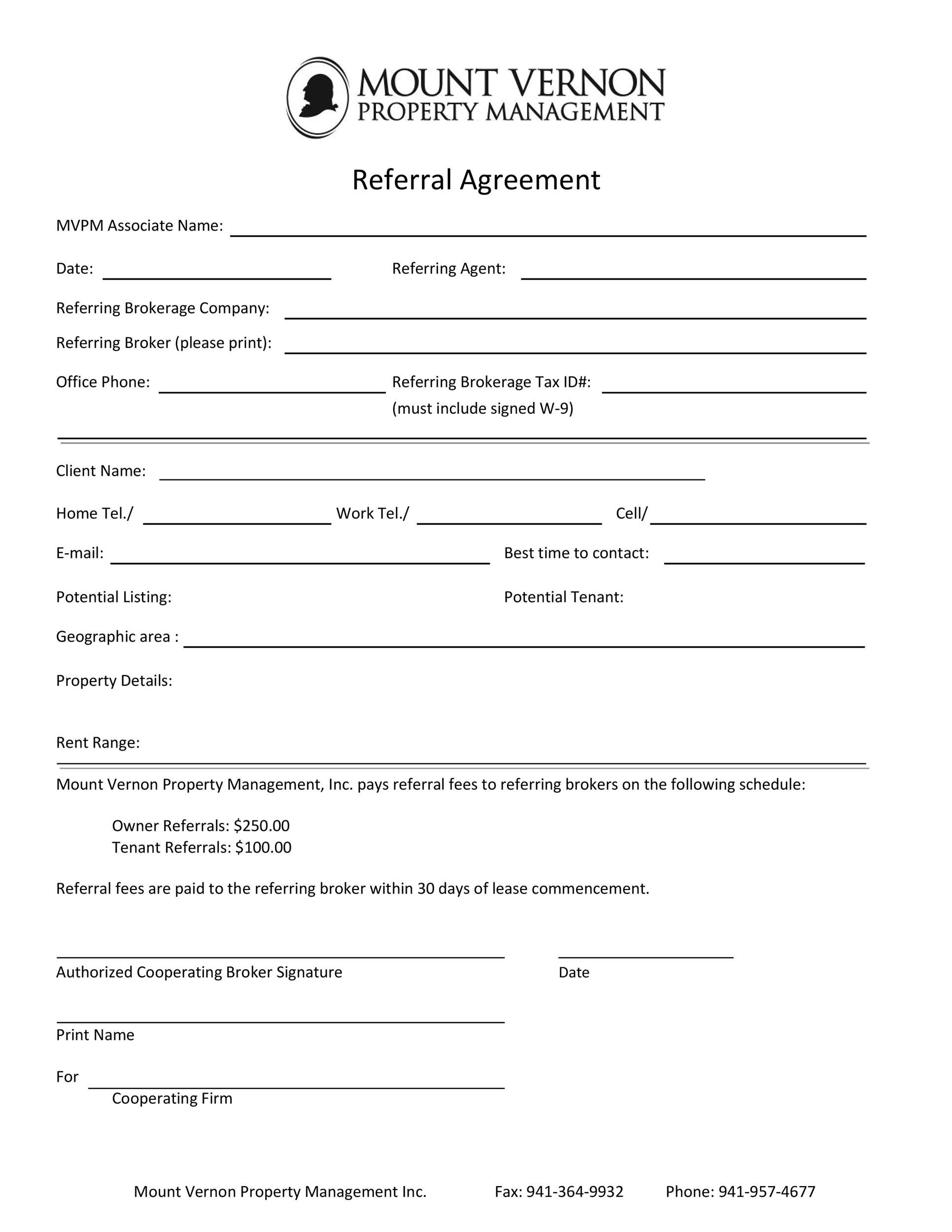 Free referral agreement template 33