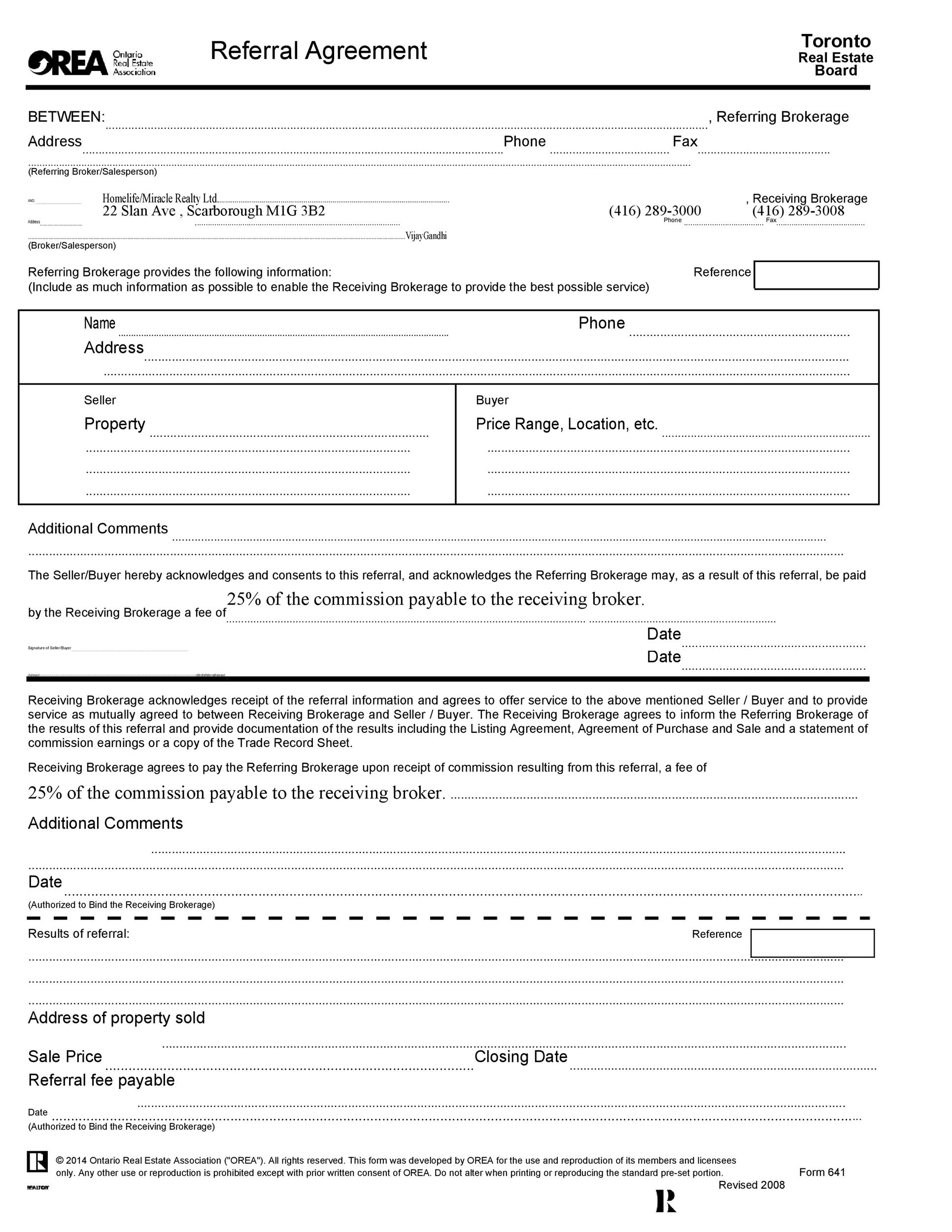 Free referral agreement template 35