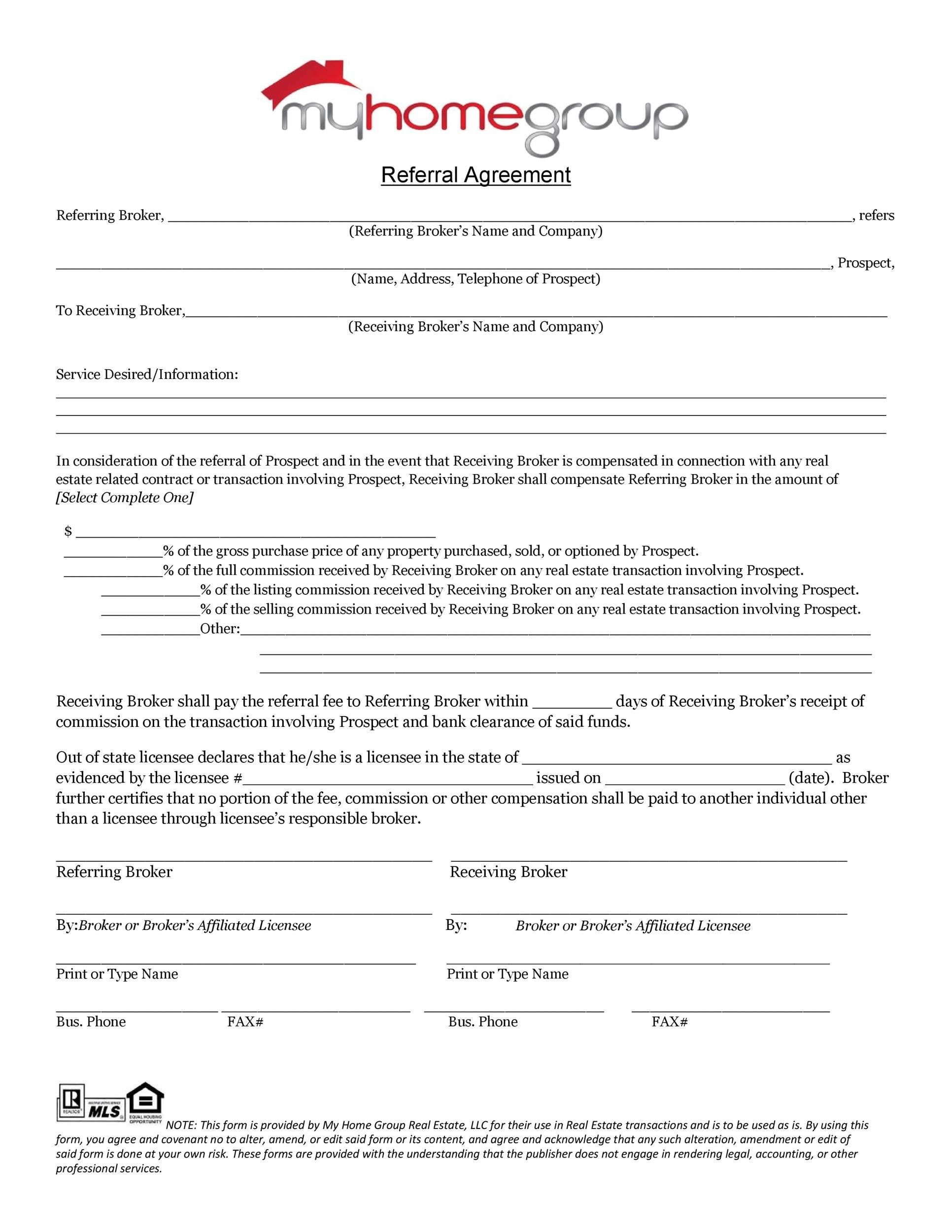 Free referral agreement template 37