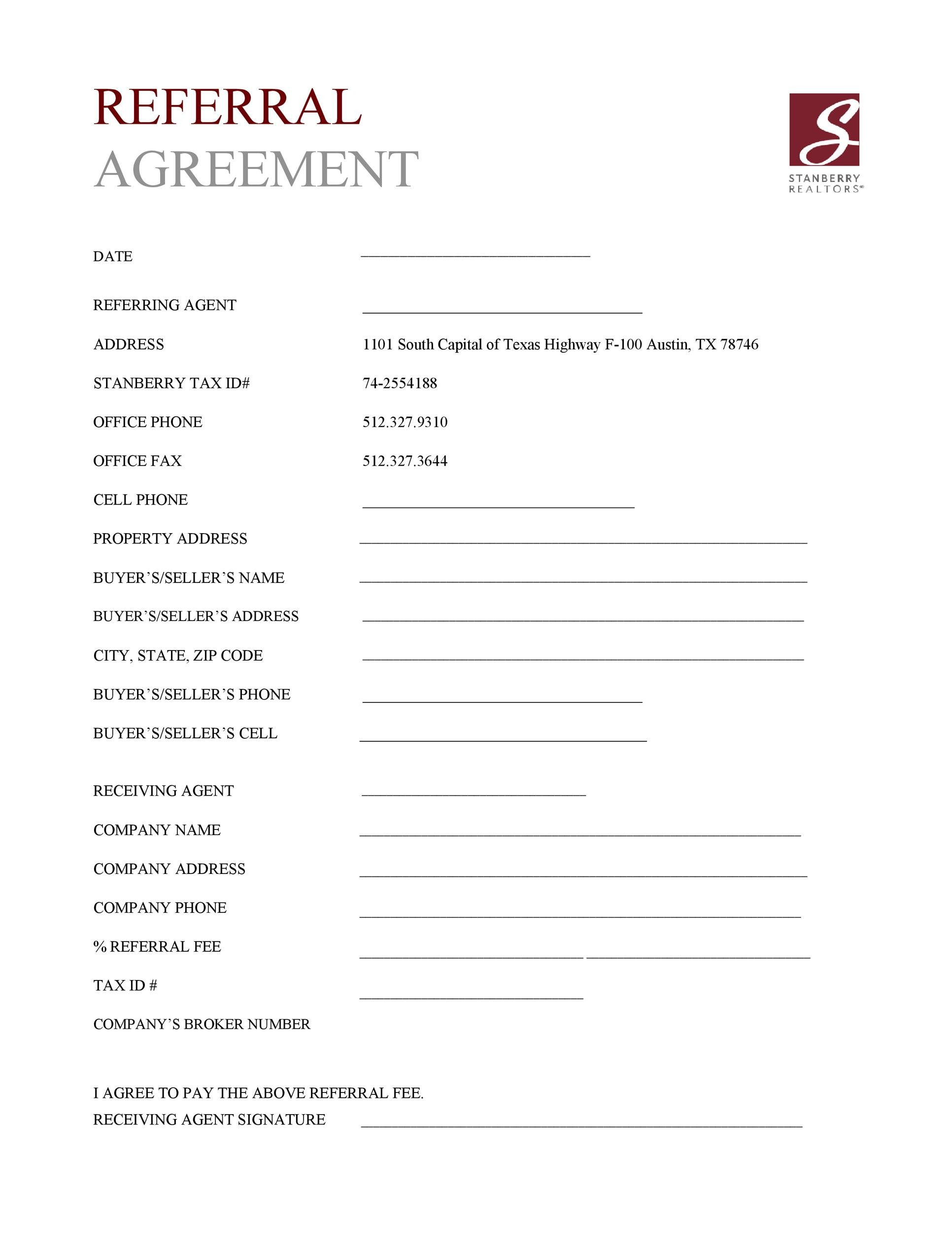 Free referral agreement template 38