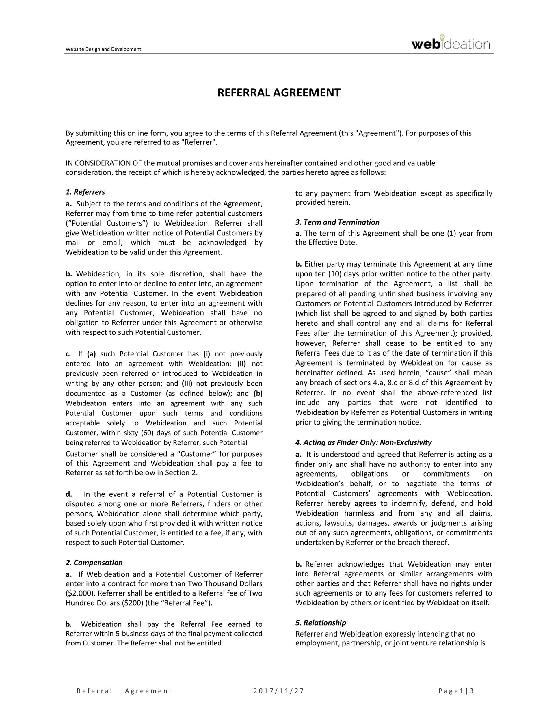 Free referral agreement template 44