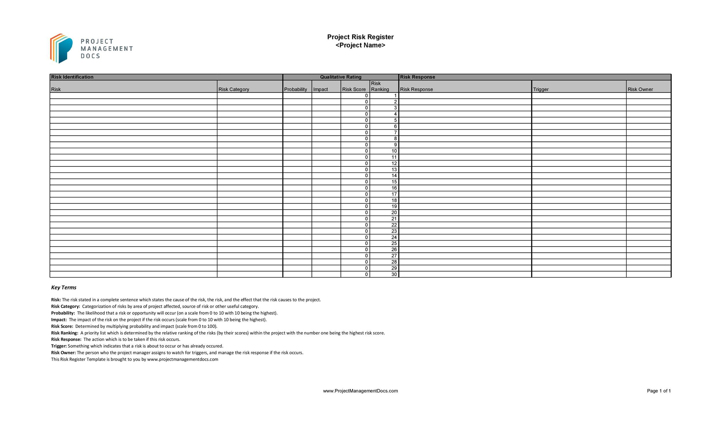 Free risk register template 03