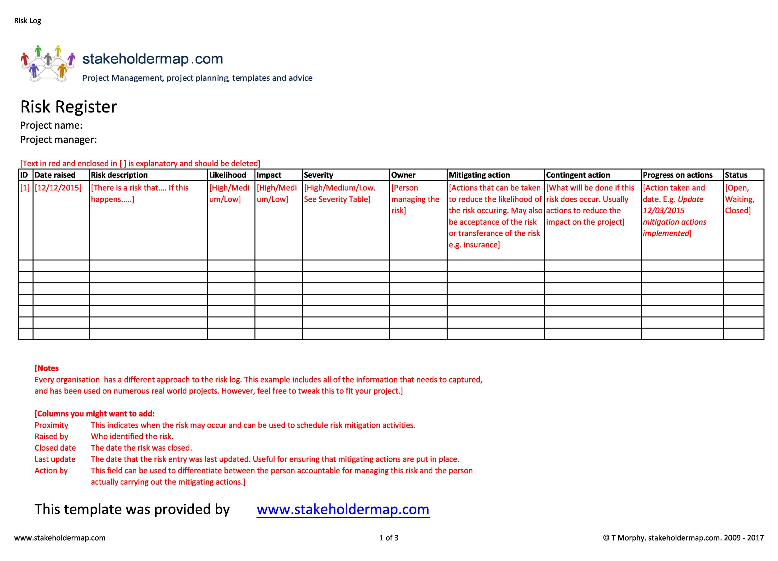 Free risk register template 04