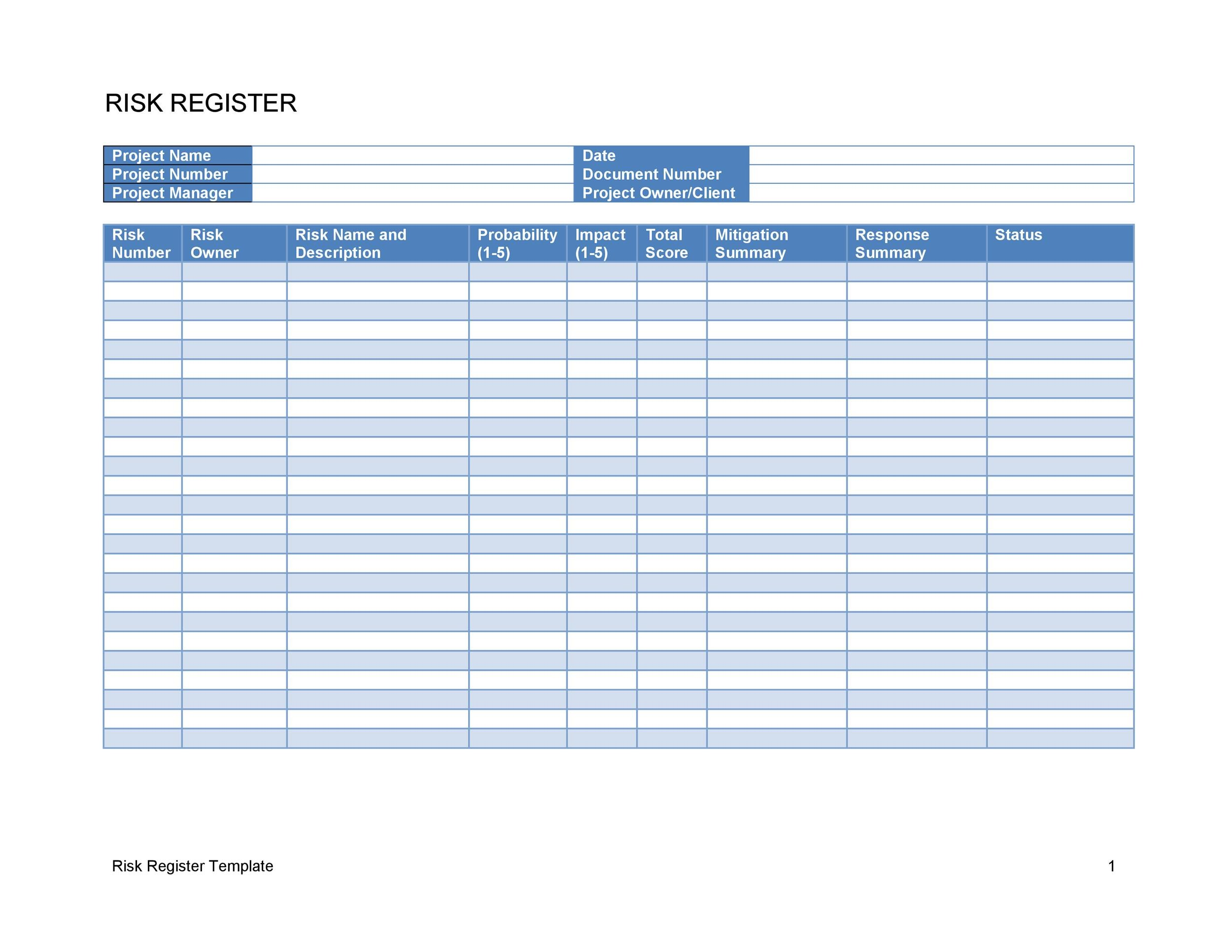 Free risk register template 10