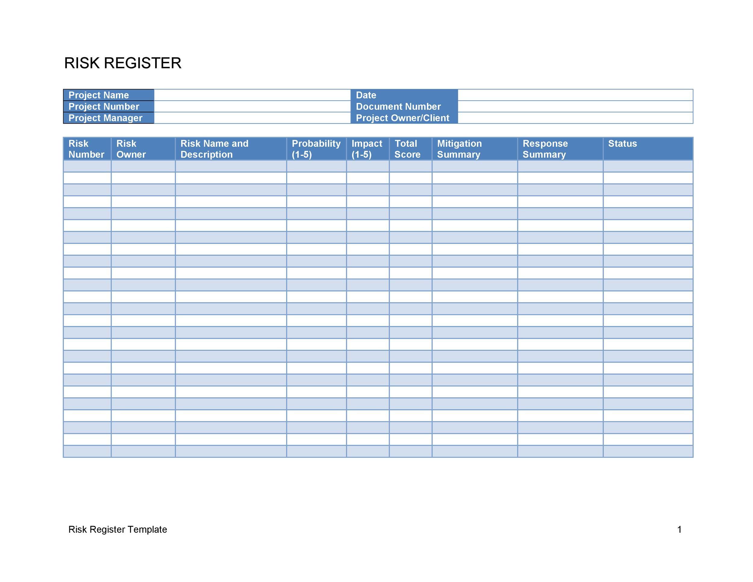 Free risk register template 10