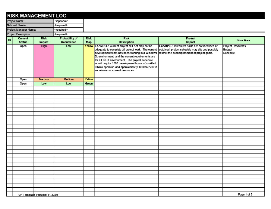 Free risk register template 13