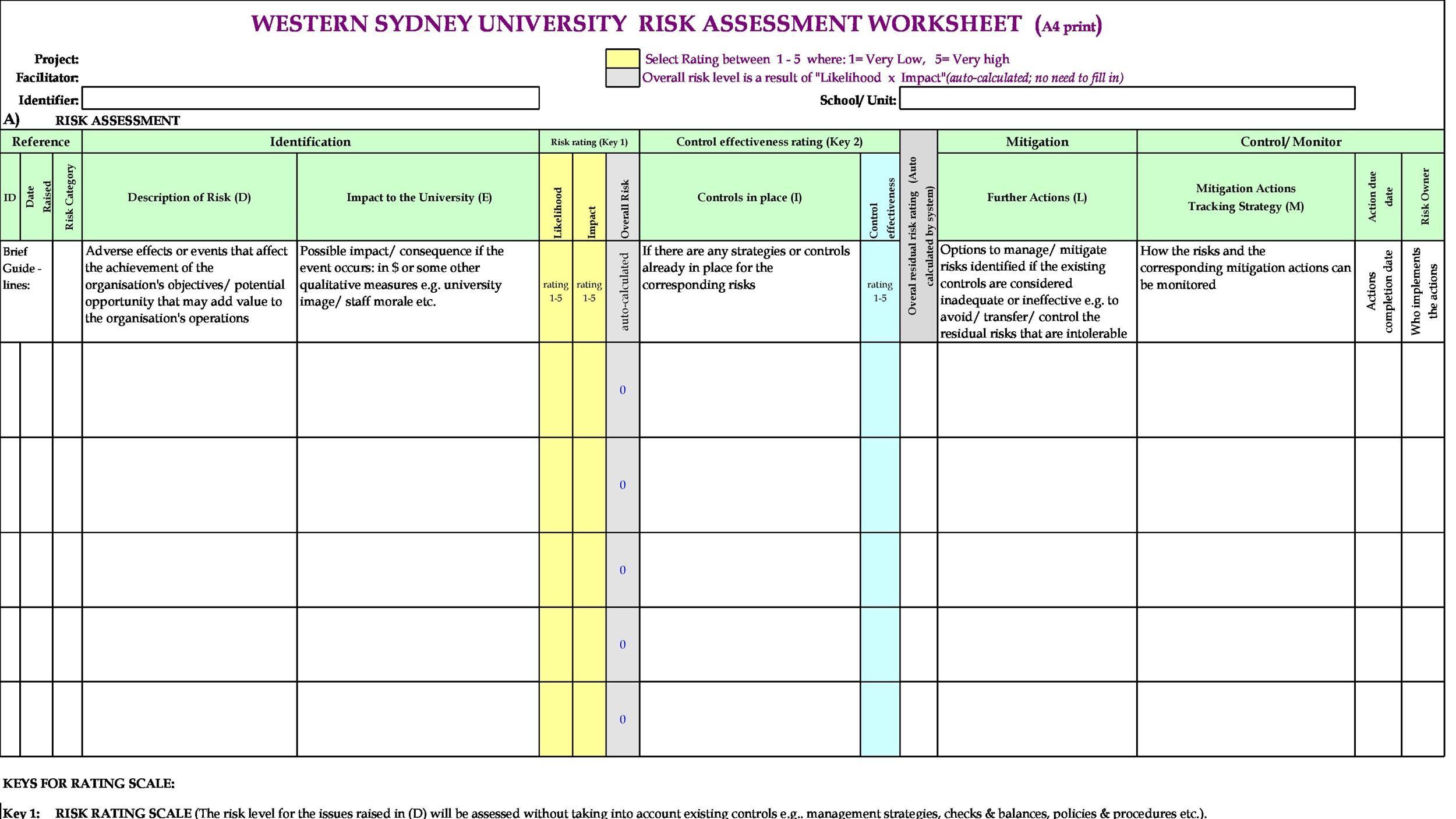 Free risk register template 15
