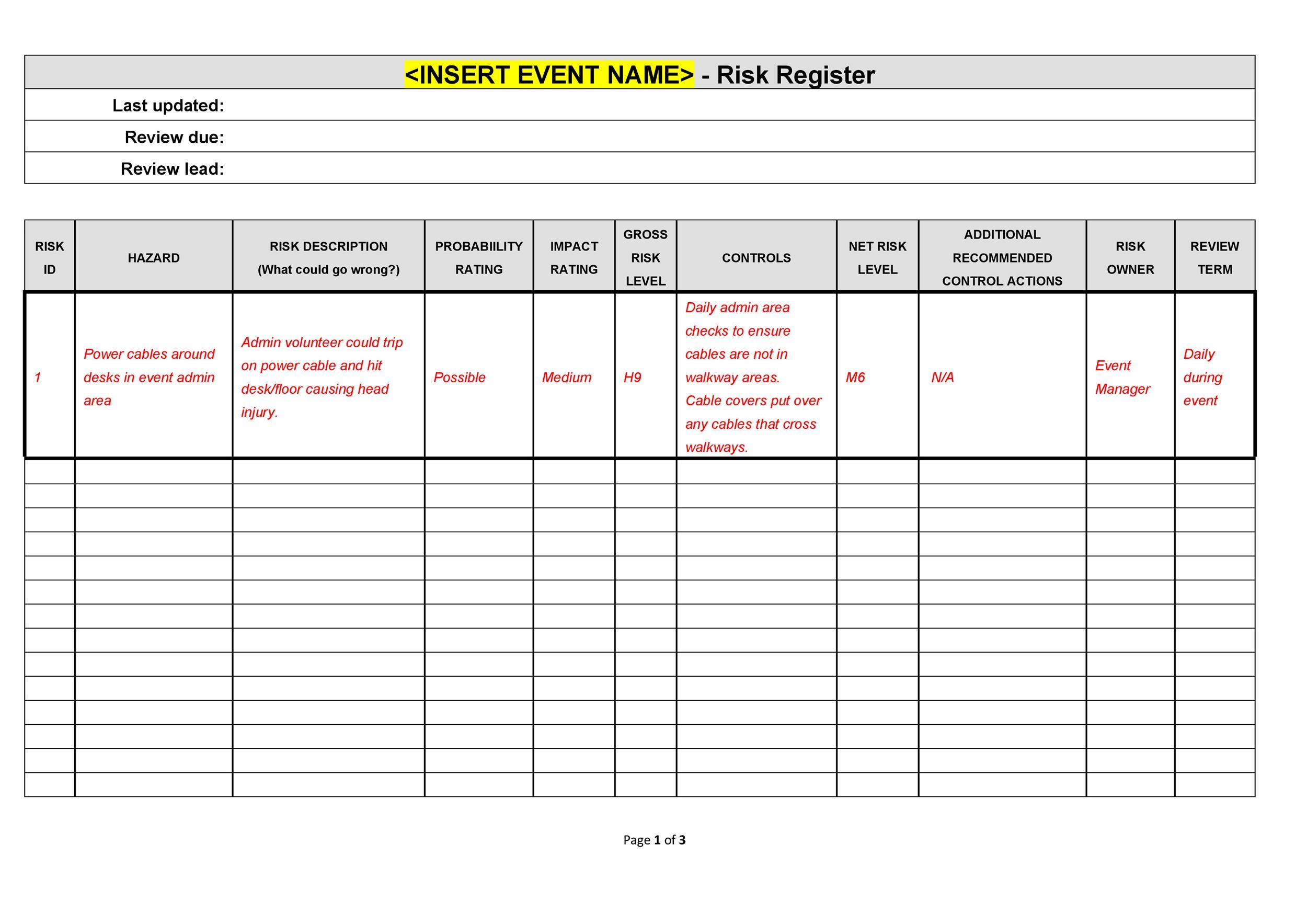 Free risk register template 19