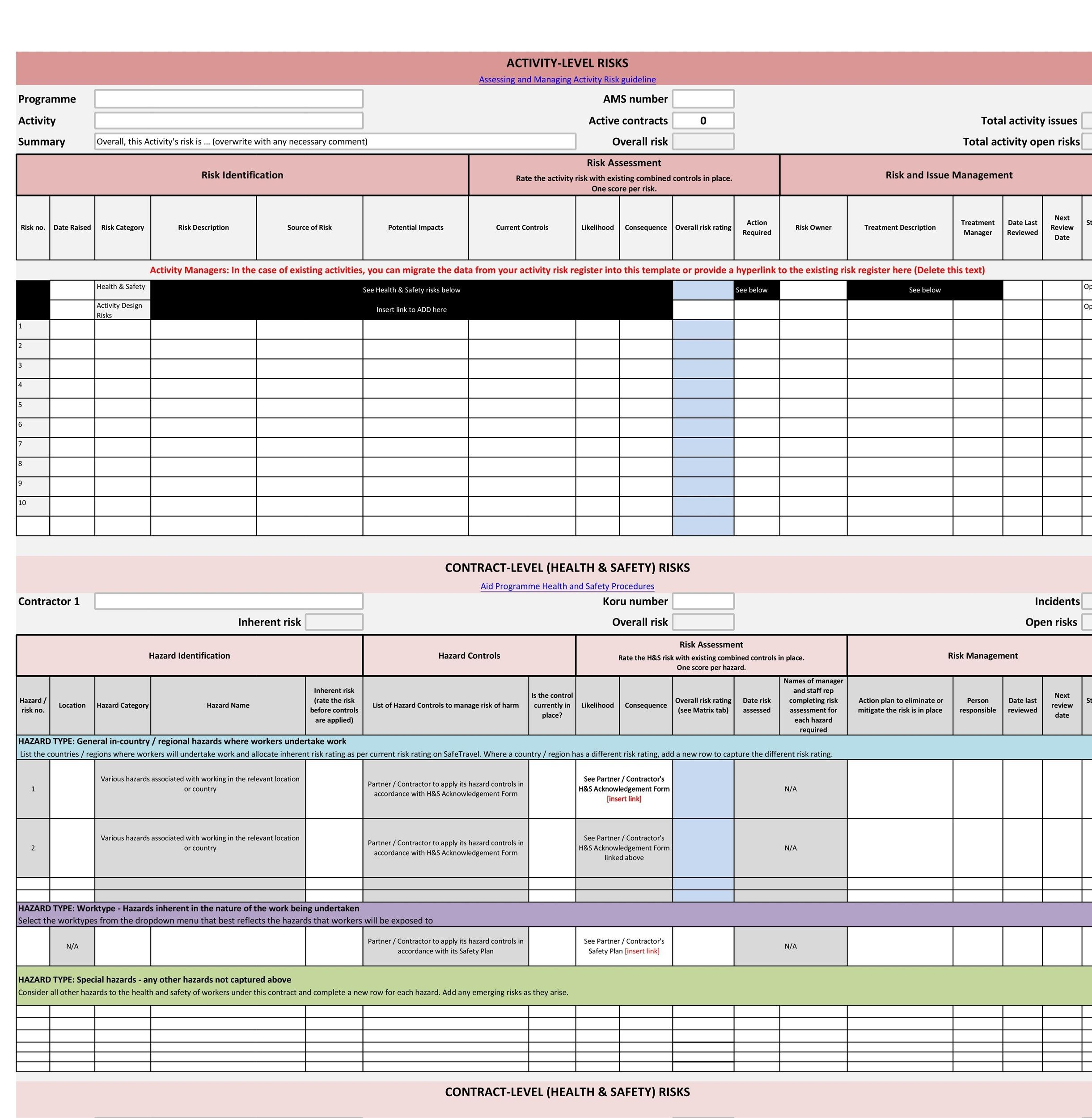 Free risk register template 22