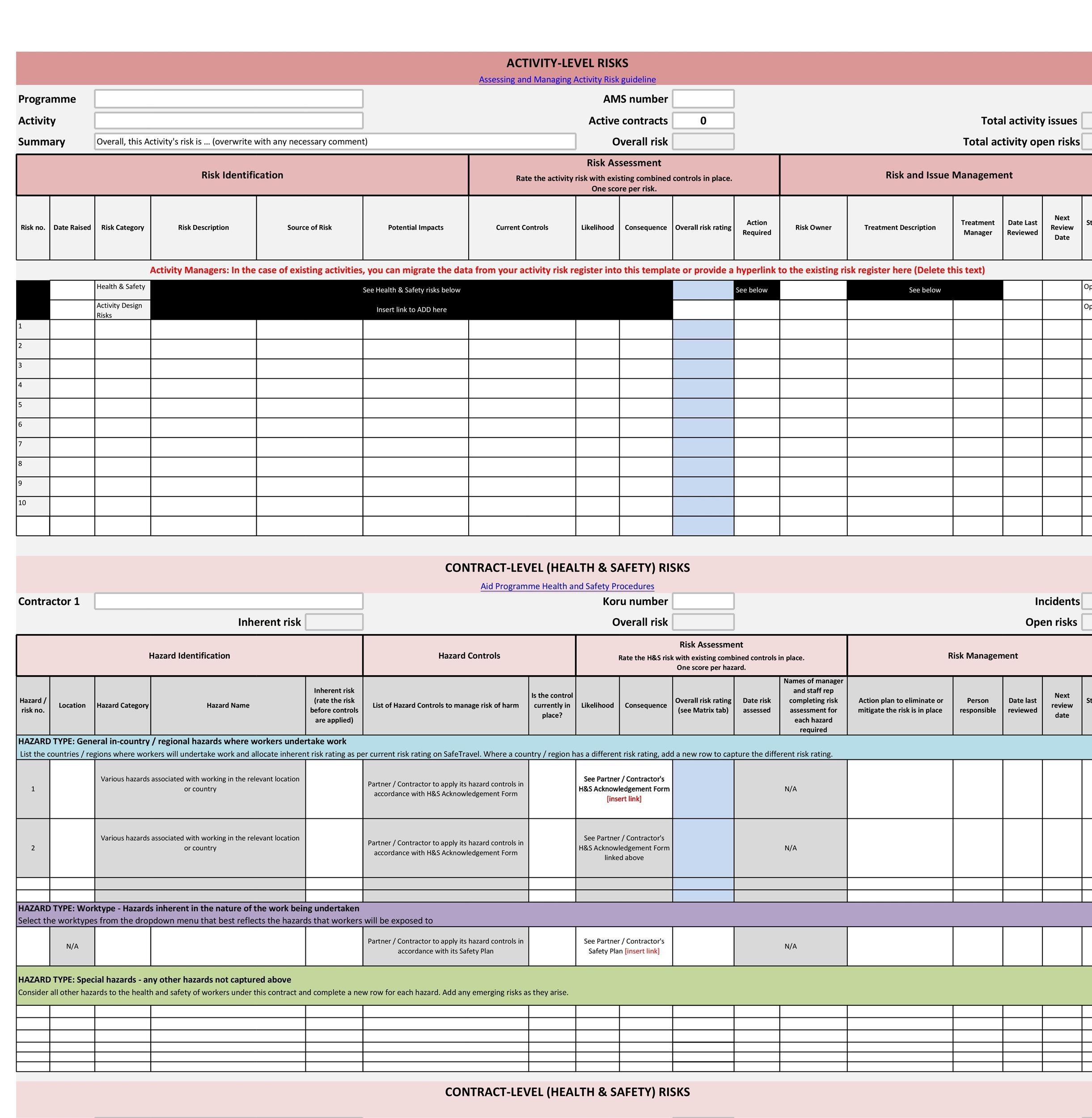Free risk register template 22