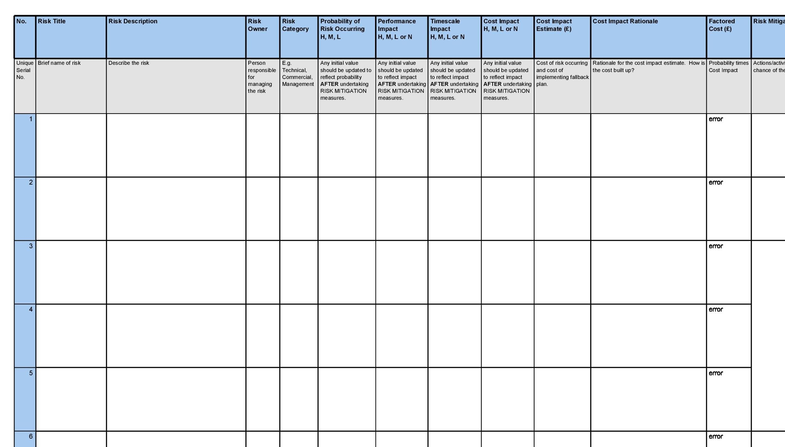 Free risk register template 25