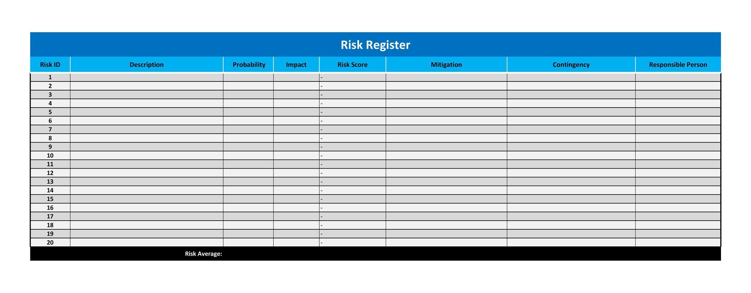 Free risk register template 27