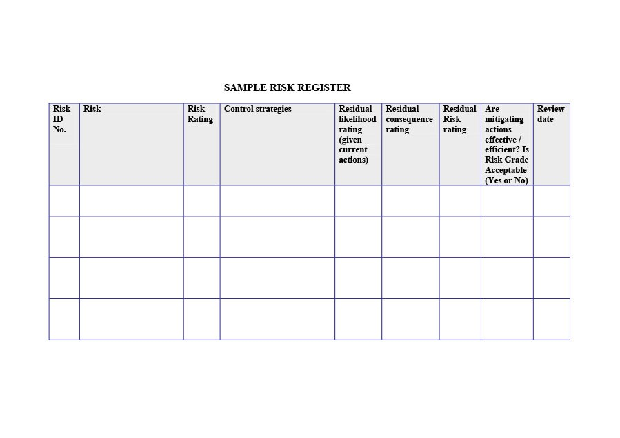 Free risk register template 29