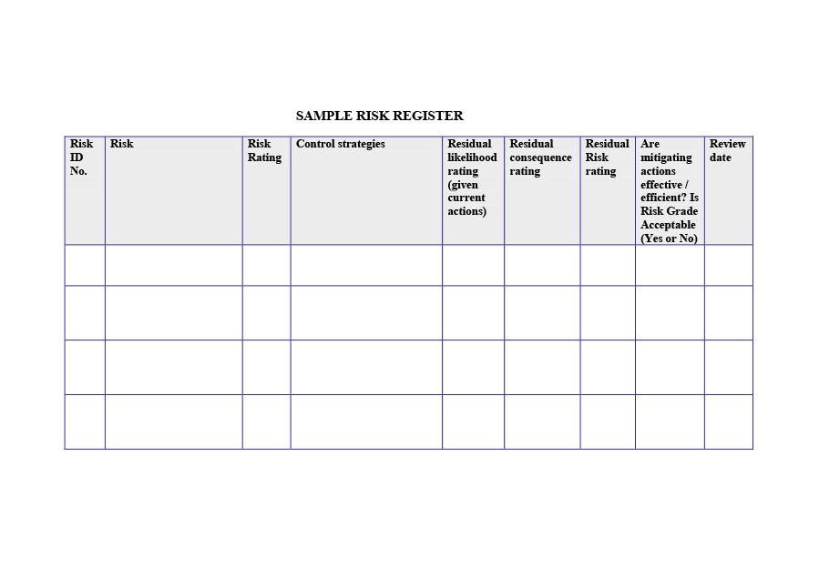 Free risk register template 29