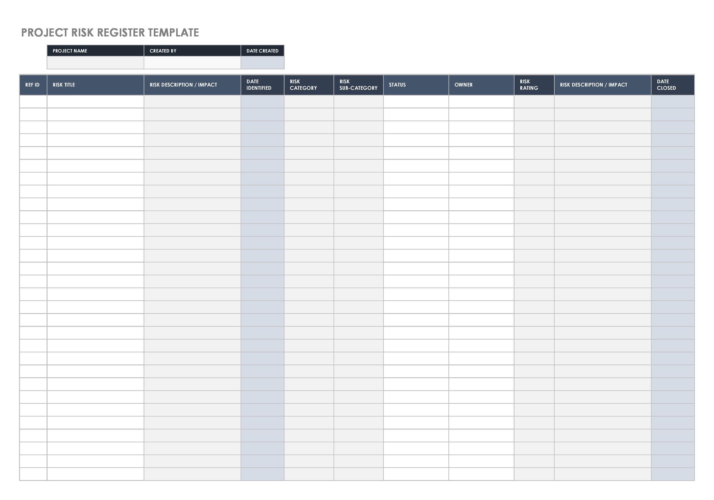 Free risk register template 30