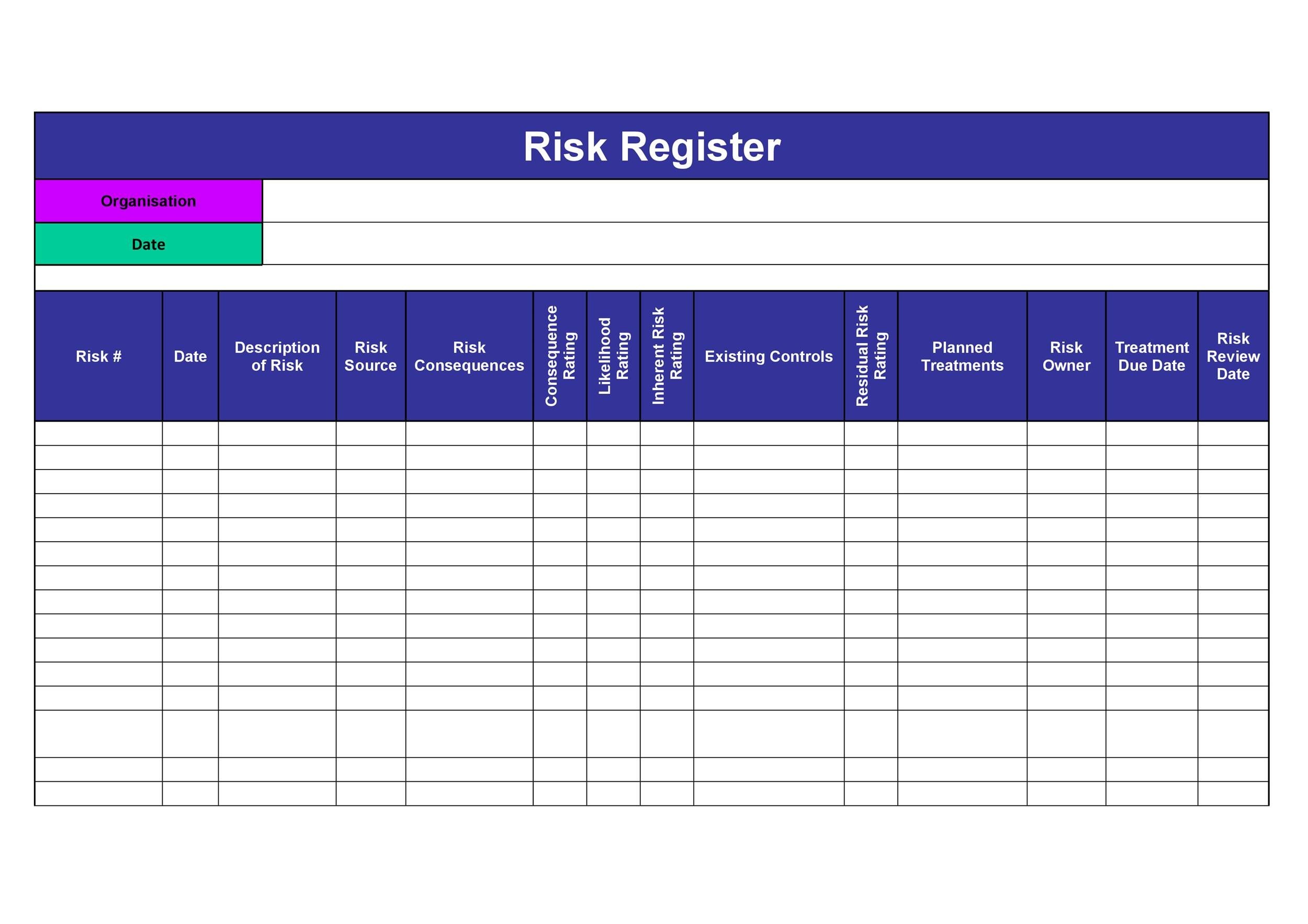 Free risk register template 33