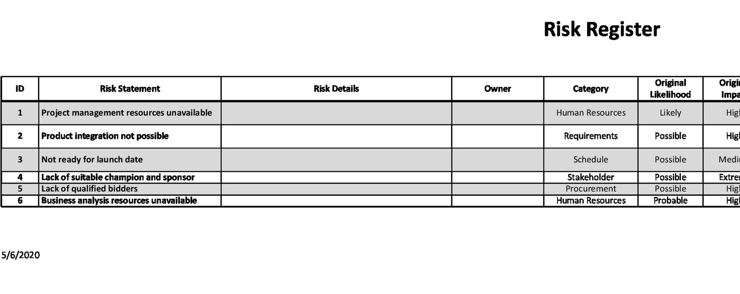 Free risk register template 34