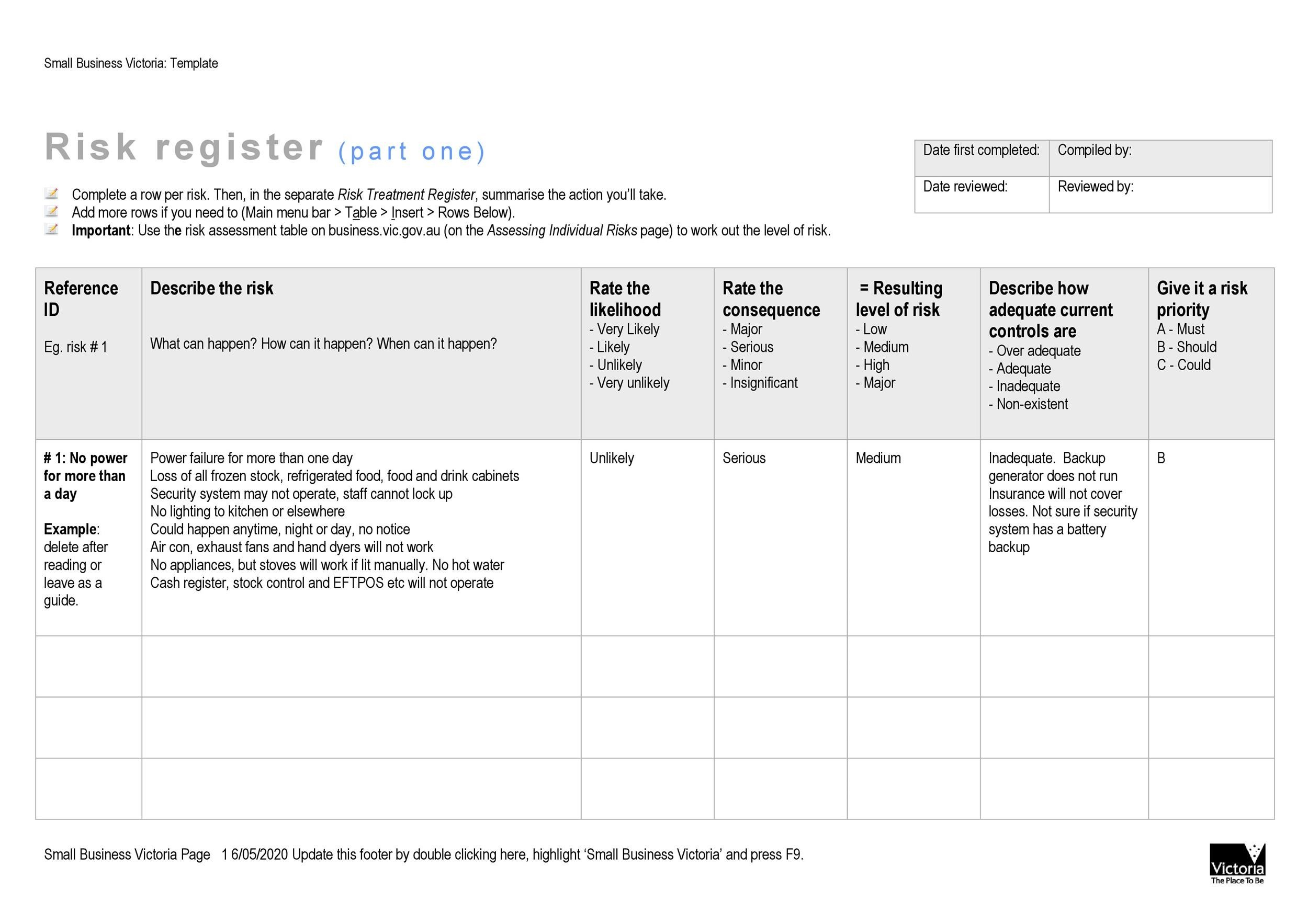 Free risk register template 38