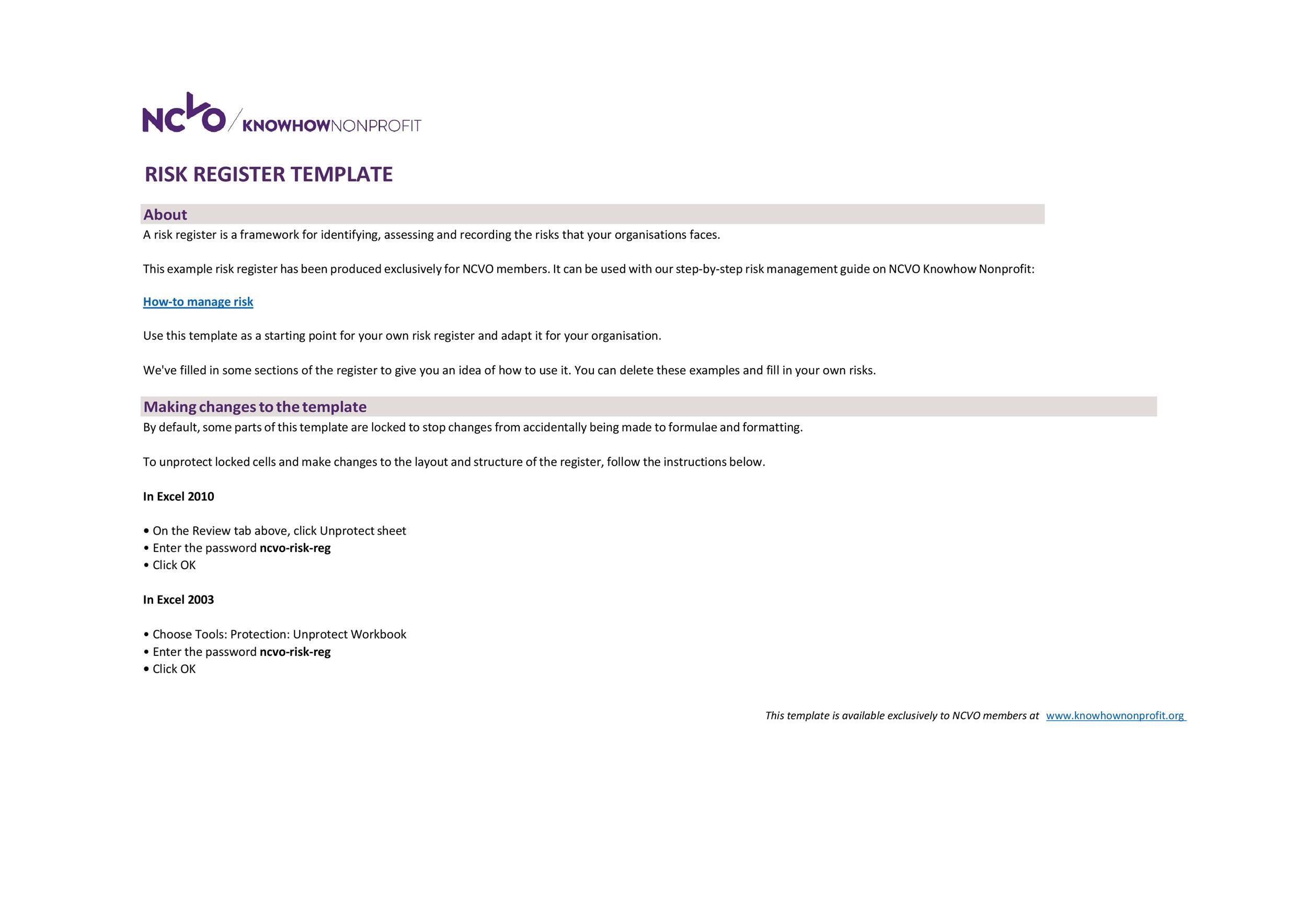 Free risk register template 41