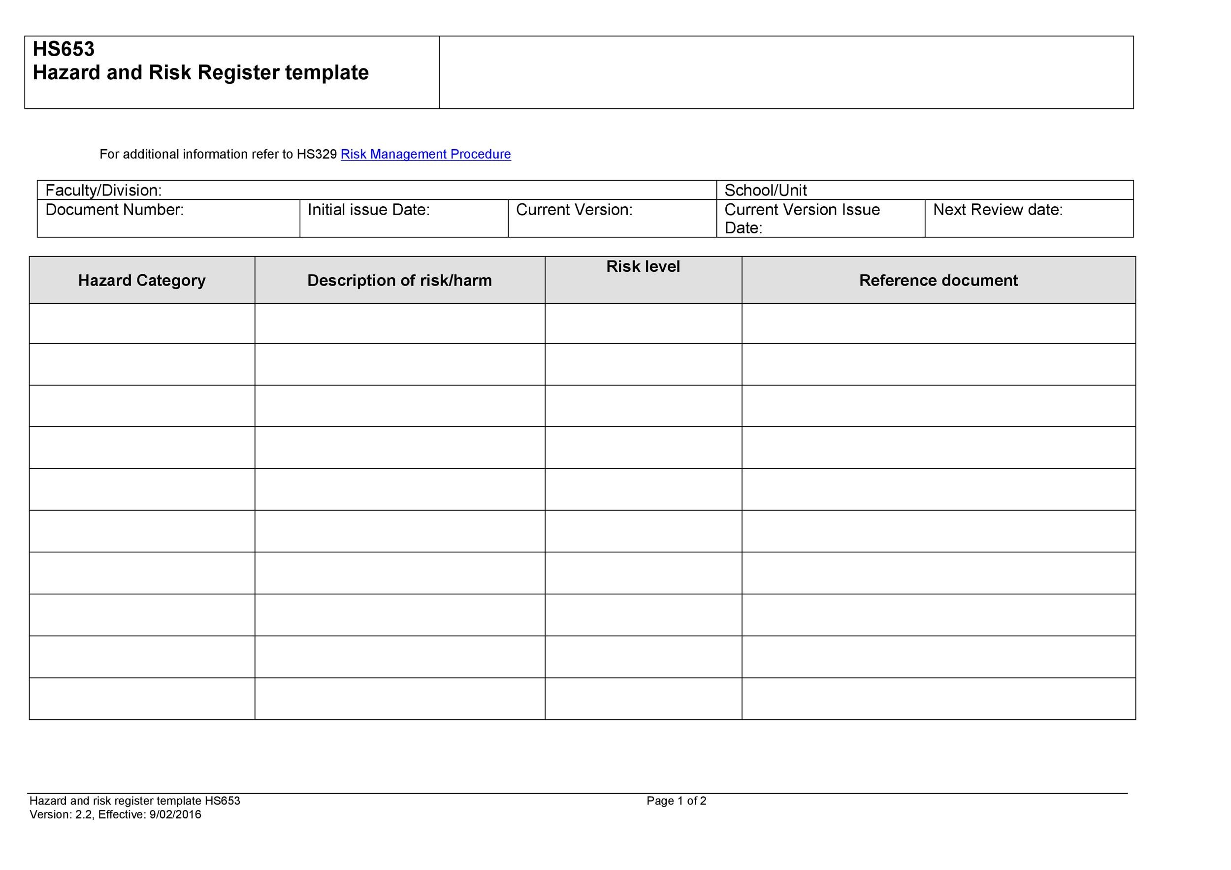 Free risk register template 42