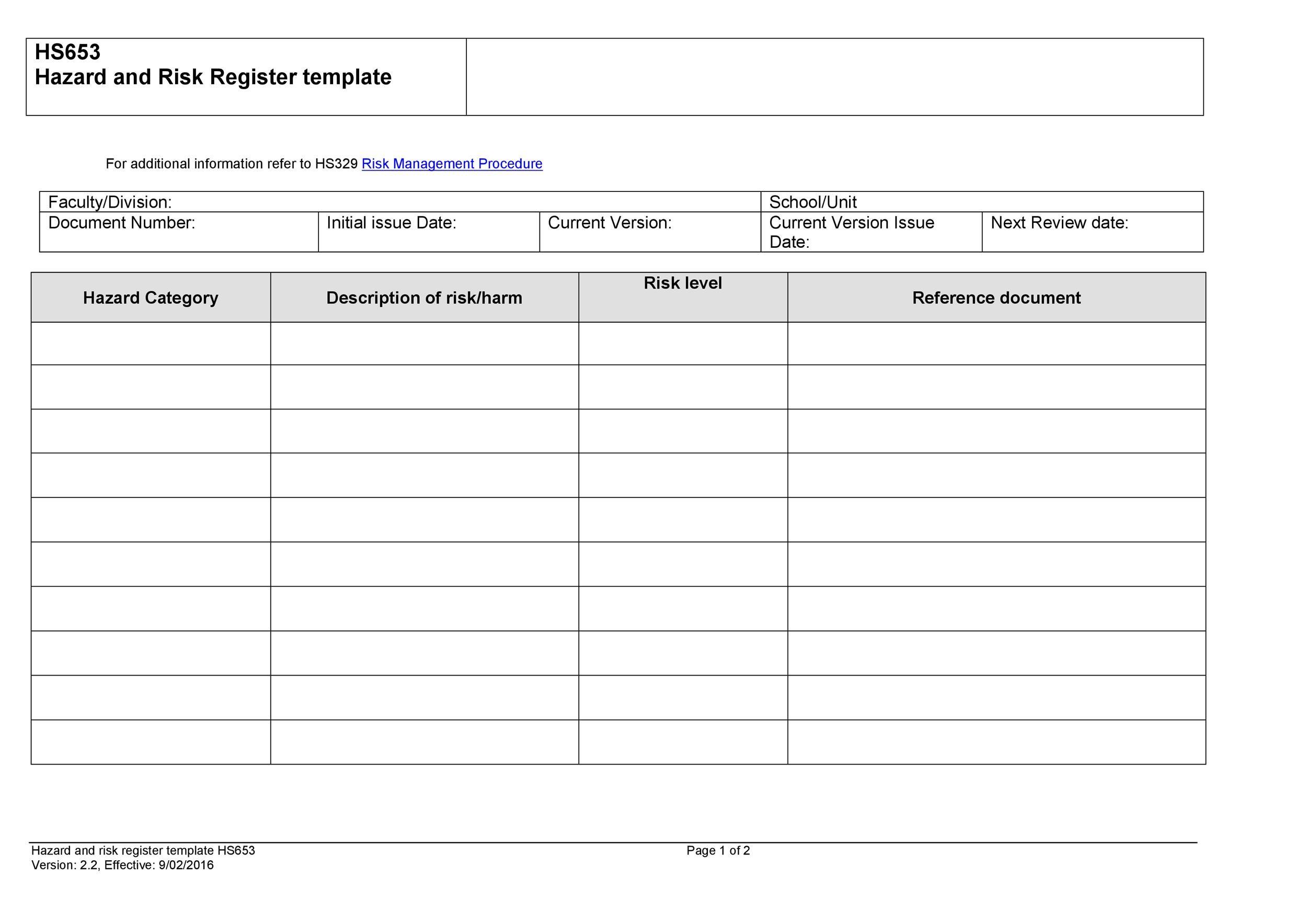 Free risk register template 42