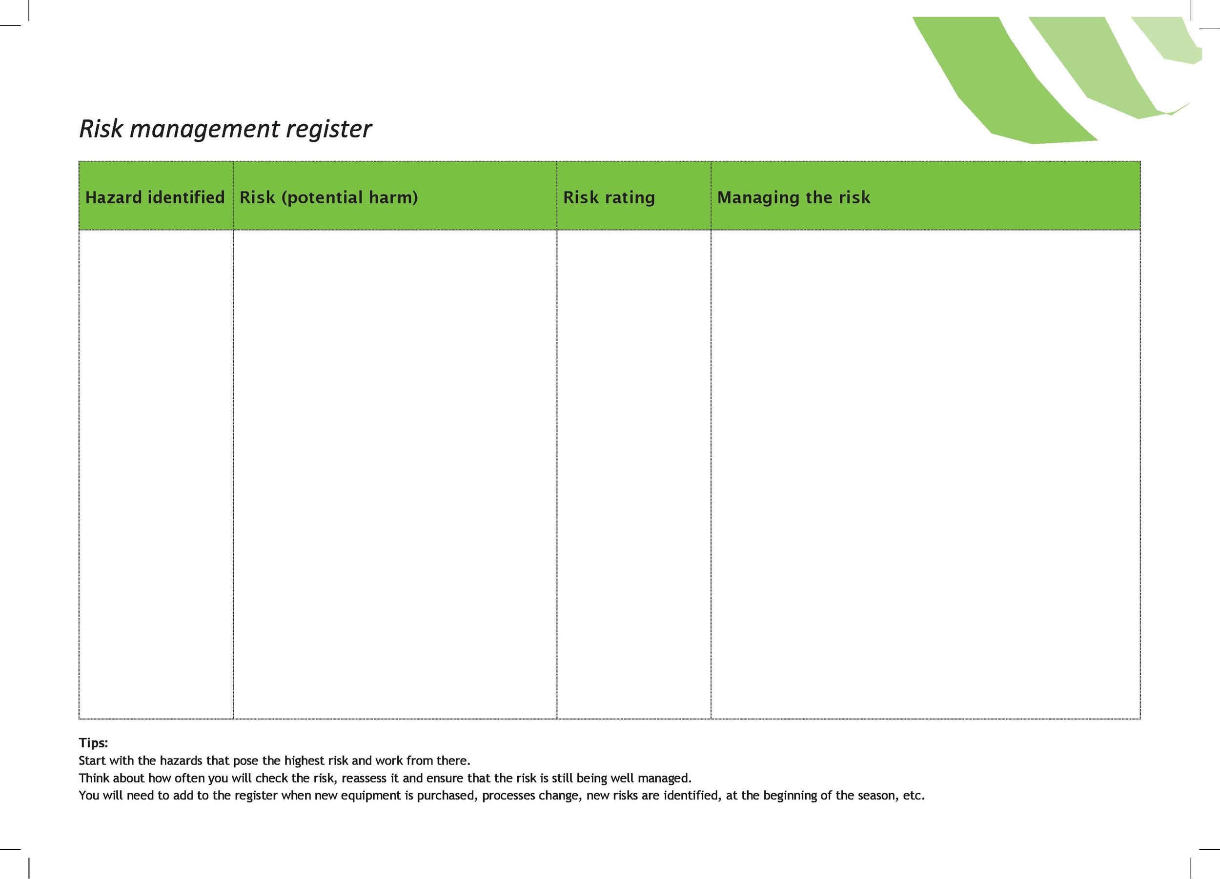 Free risk register template 43