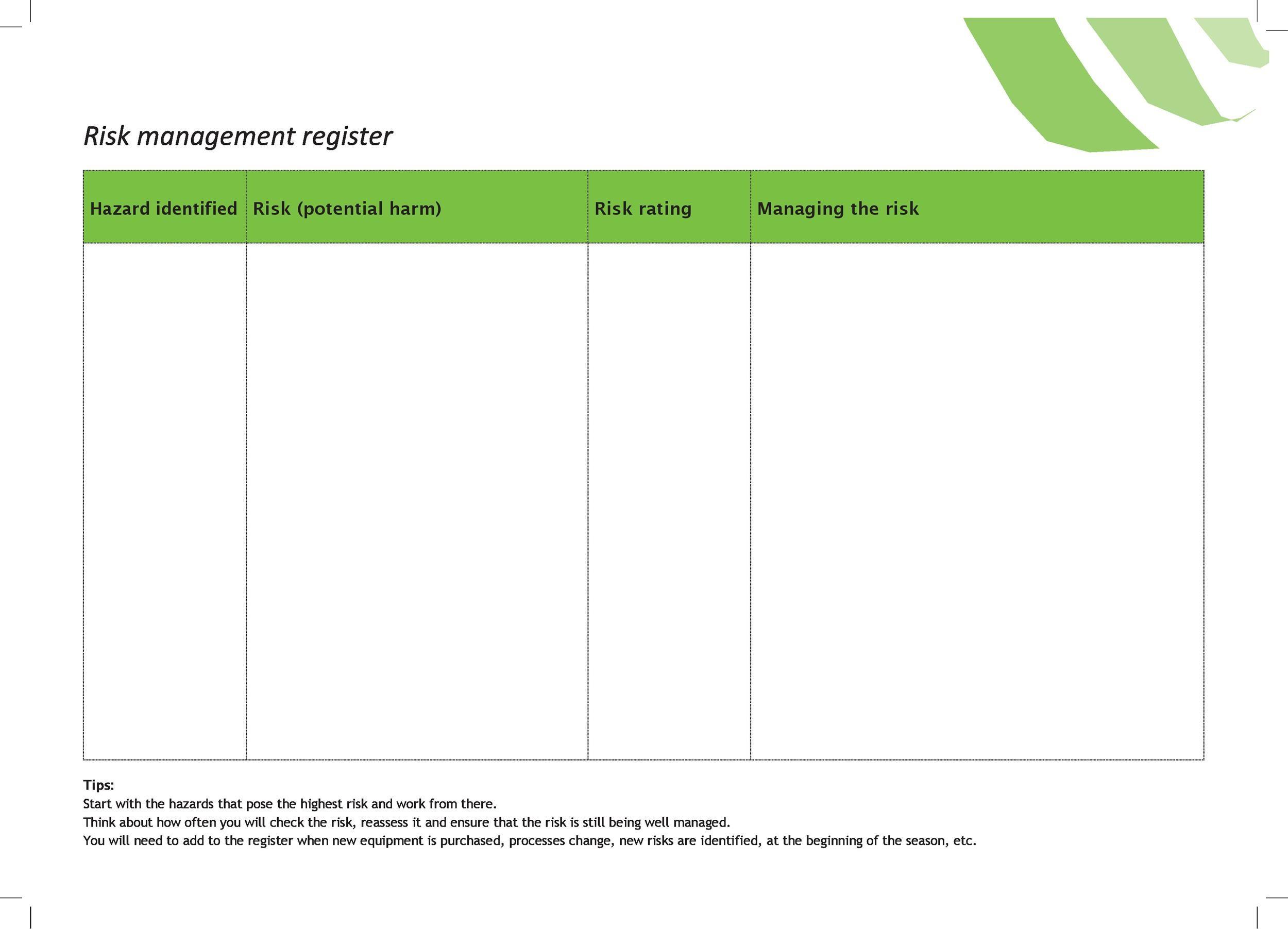 Free risk register template 43