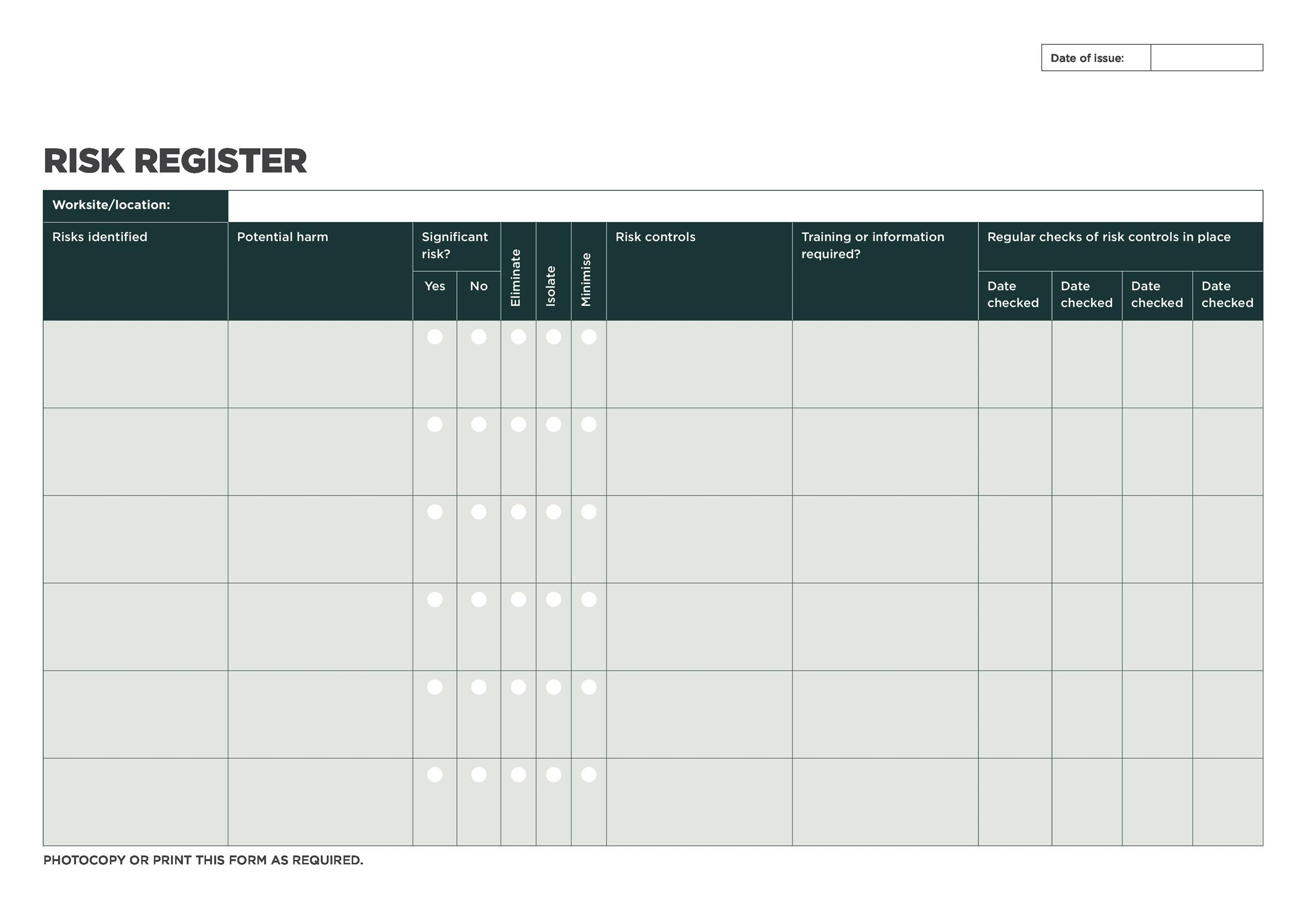 Free risk register template 48
