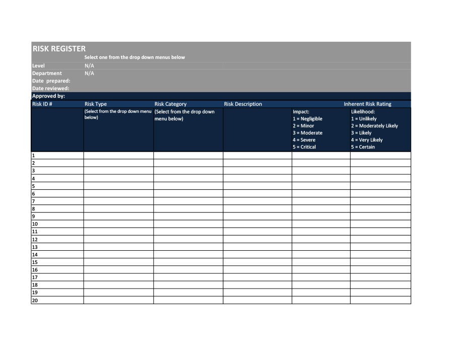 Free risk register template 49