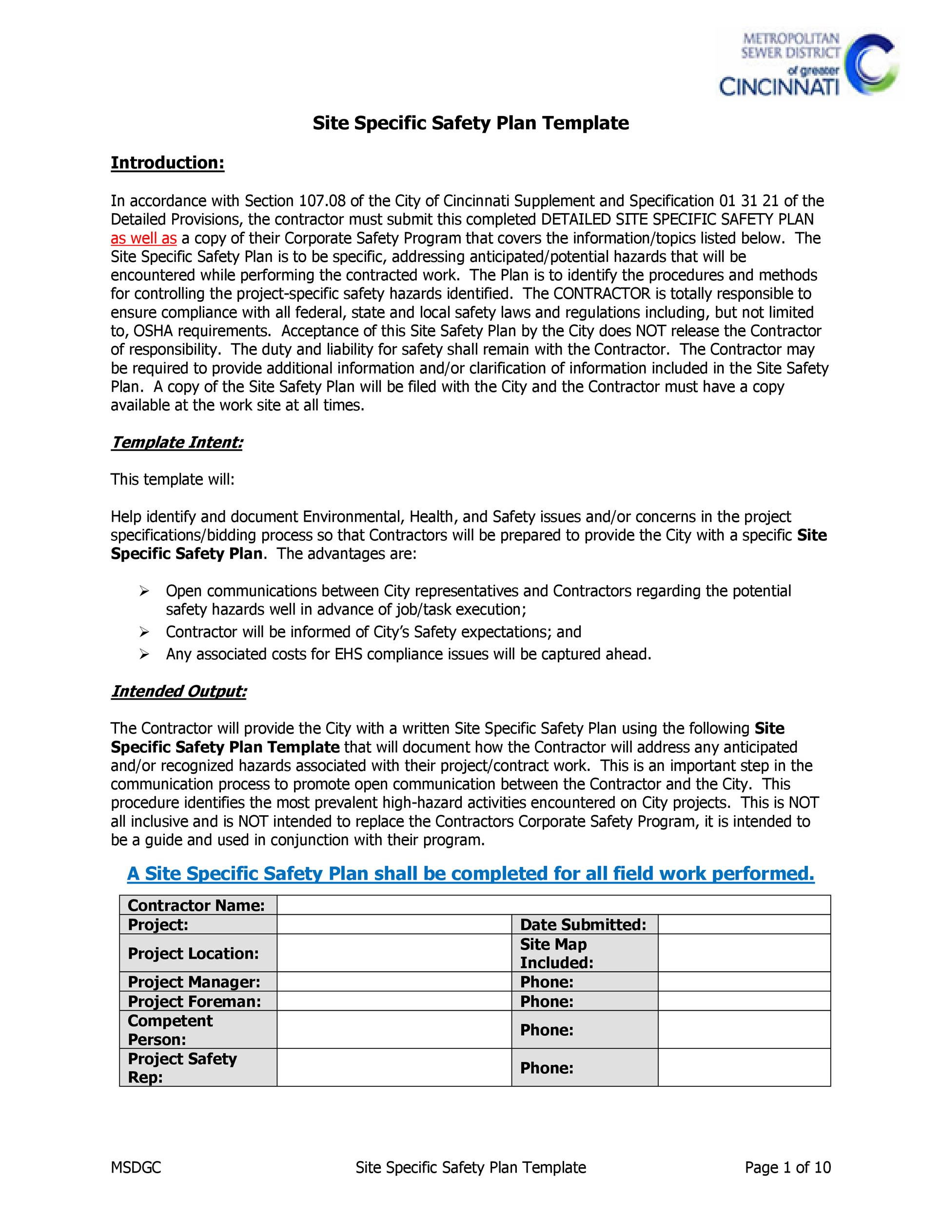 Free safety plan template 04