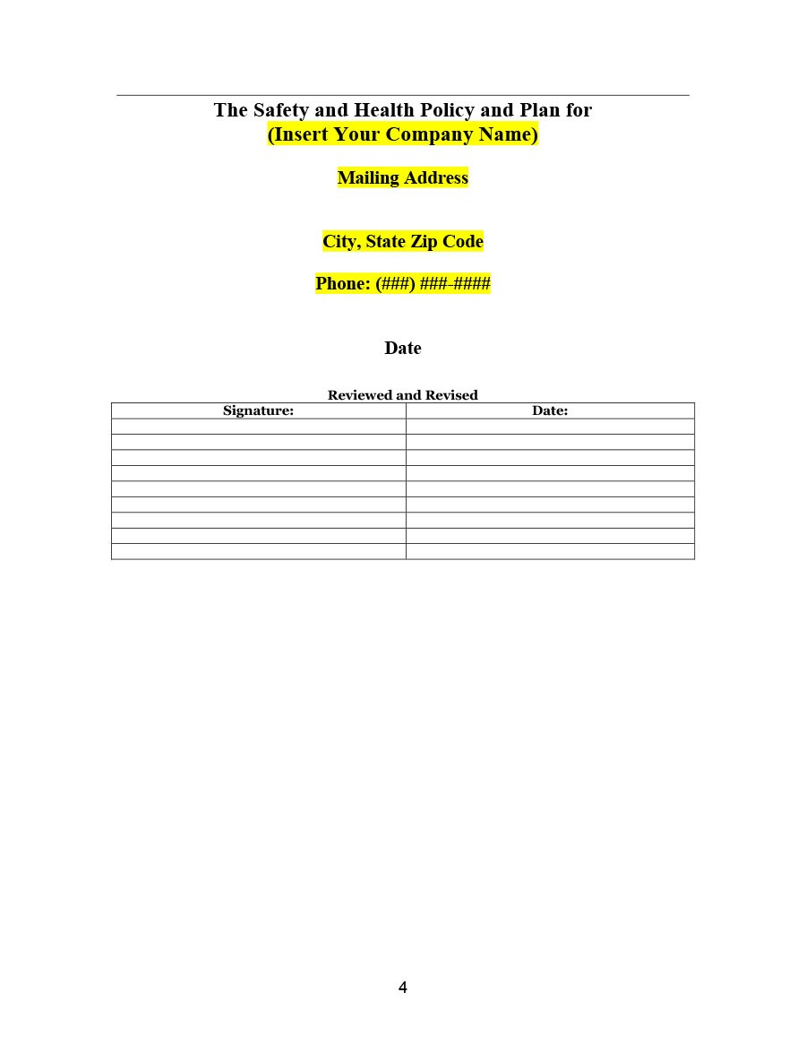 Free safety plan template 07
