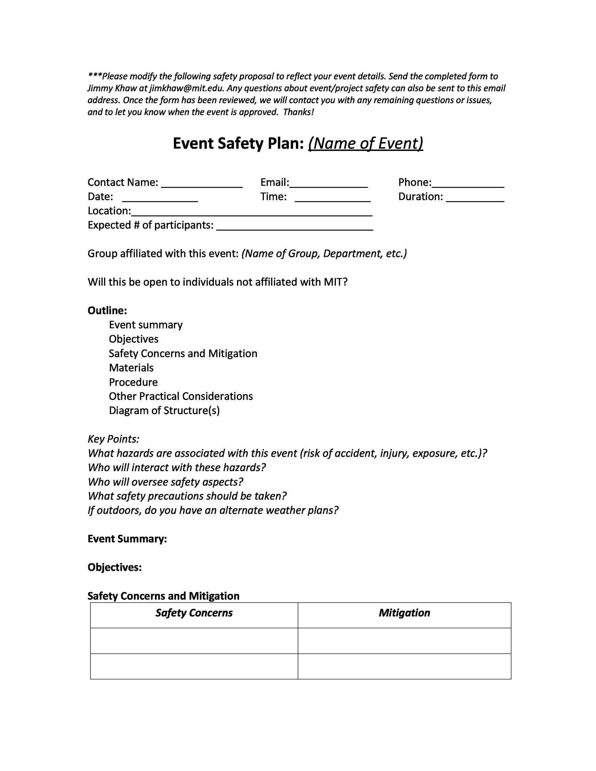 Free safety plan template 12
