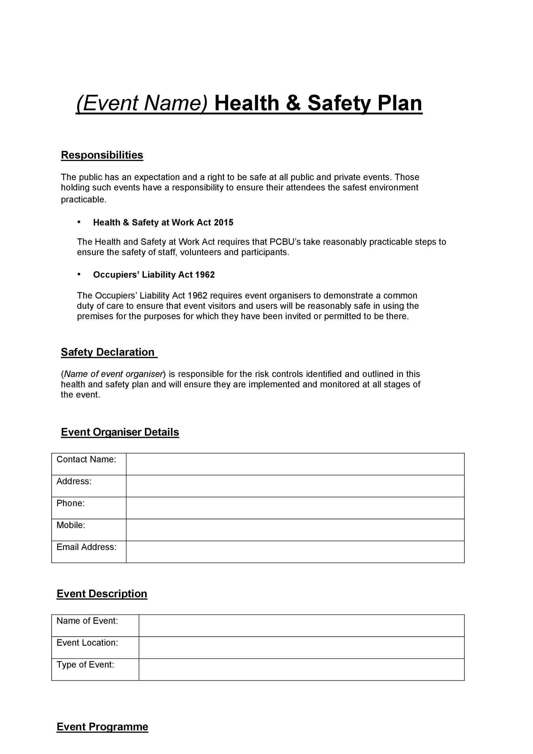 Free safety plan template 21