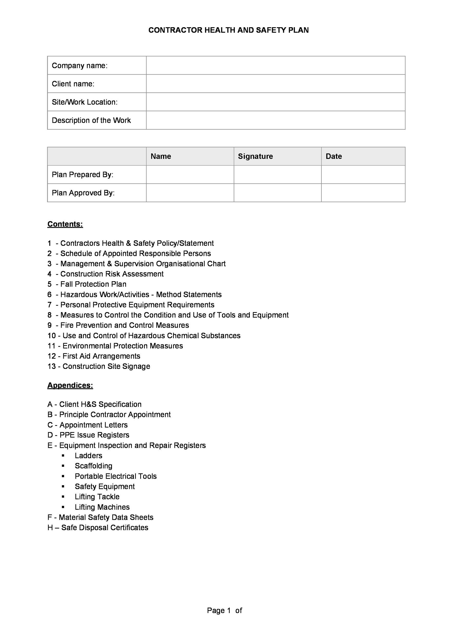Free safety plan template 24