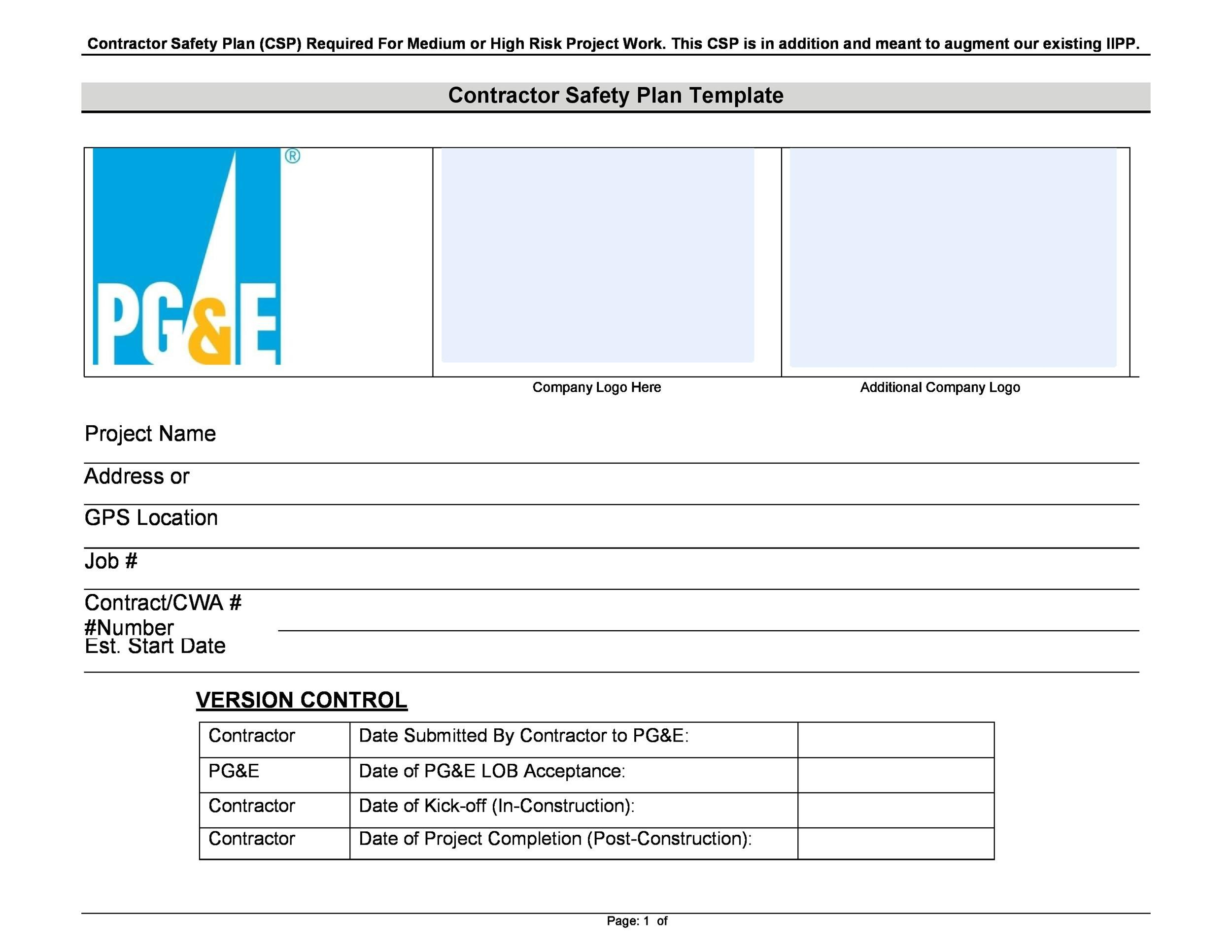 Free safety plan template 25
