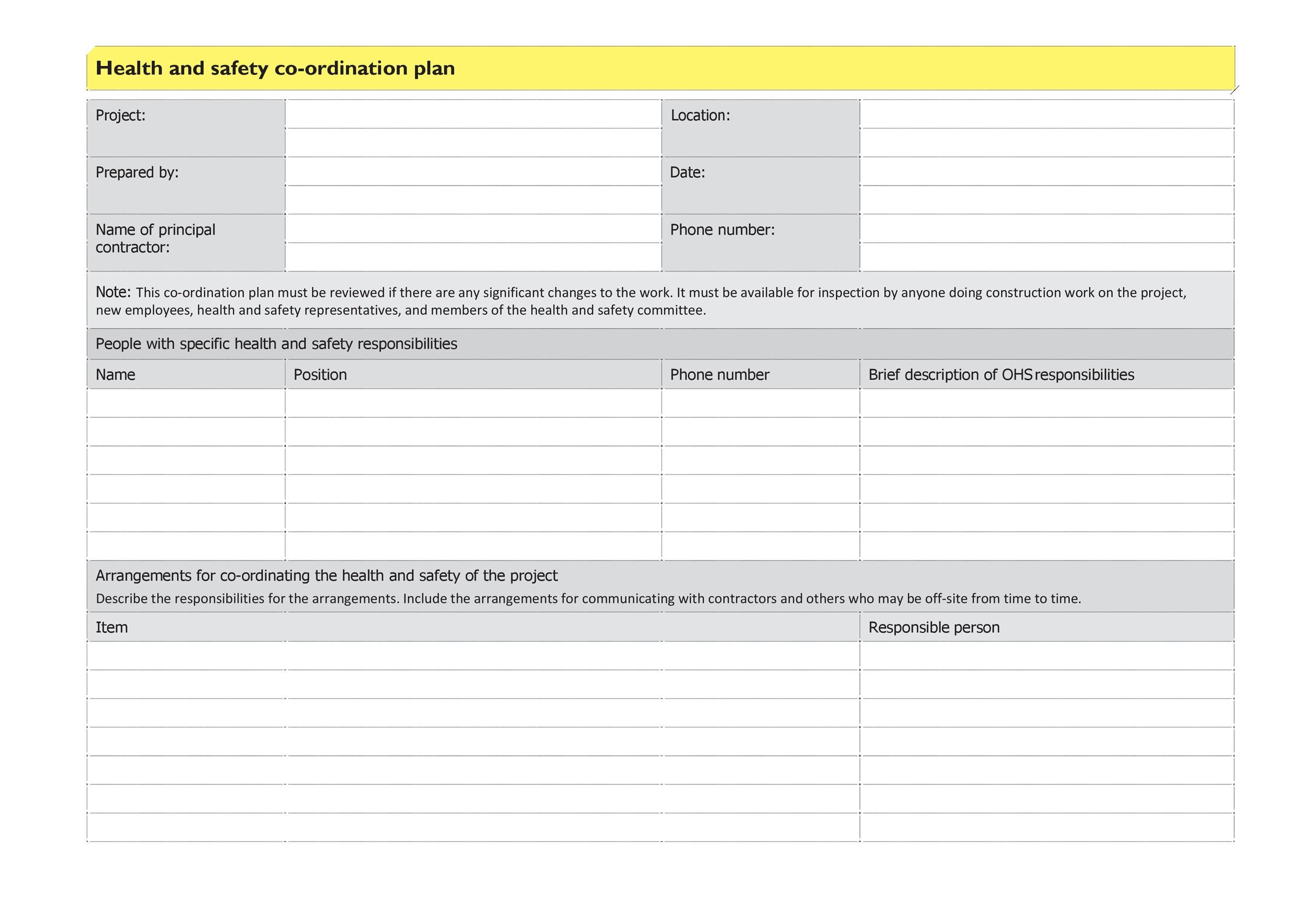 Free safety plan template 29