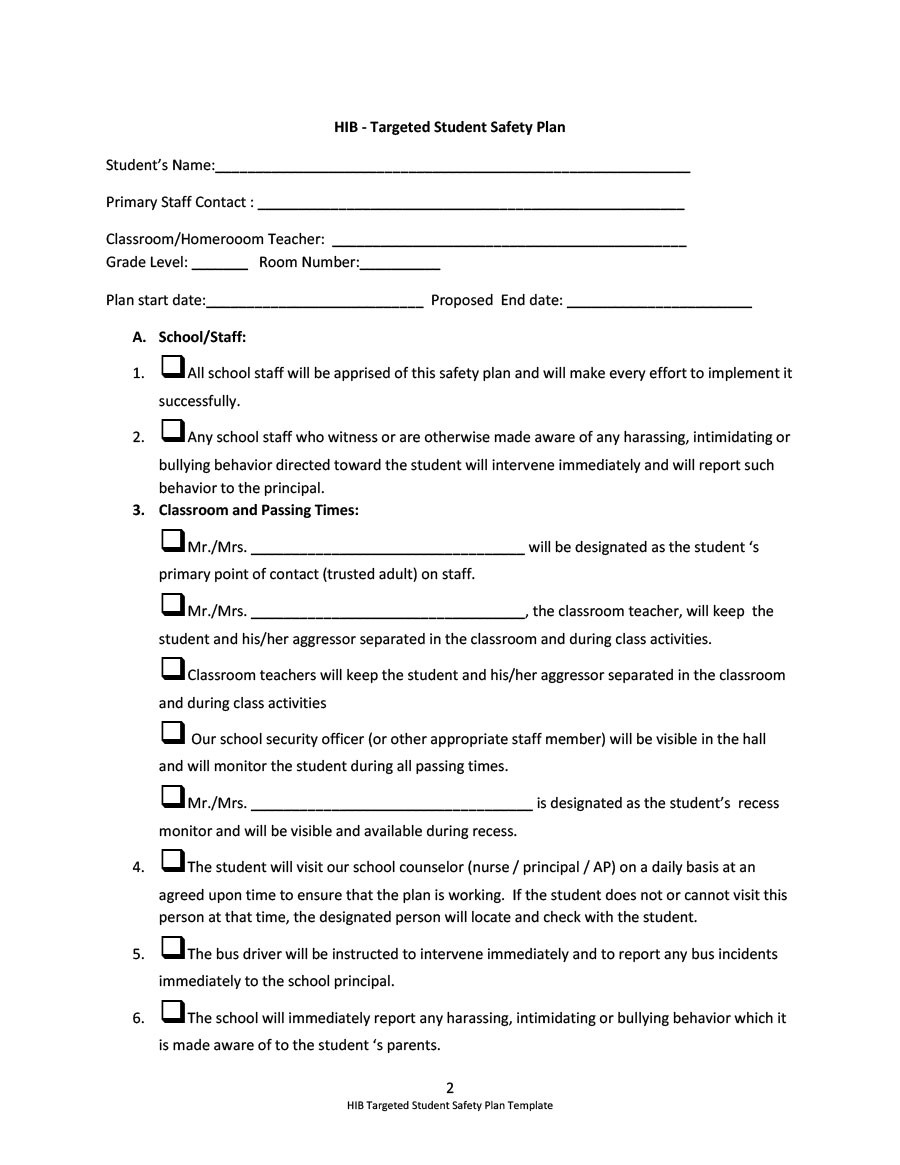 Free safety plan template 32